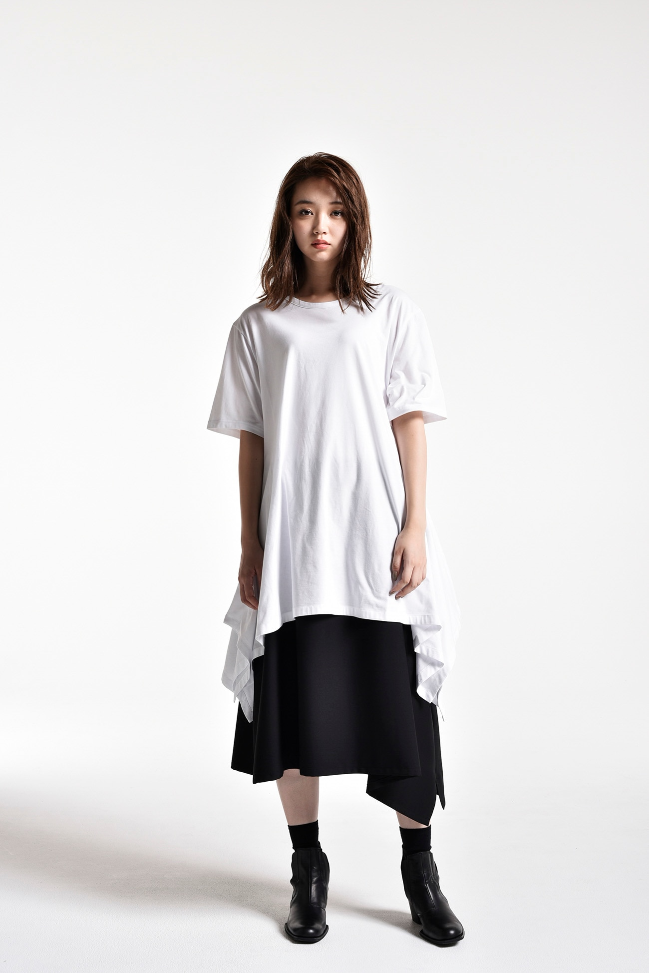 T / W gaberdine Left-Handed Gathered Skirt