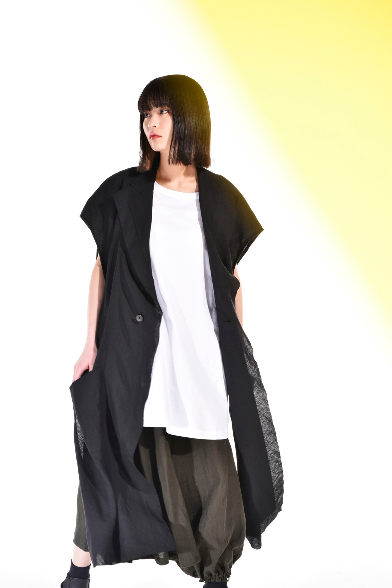 Linen Cross Tailored Poncho