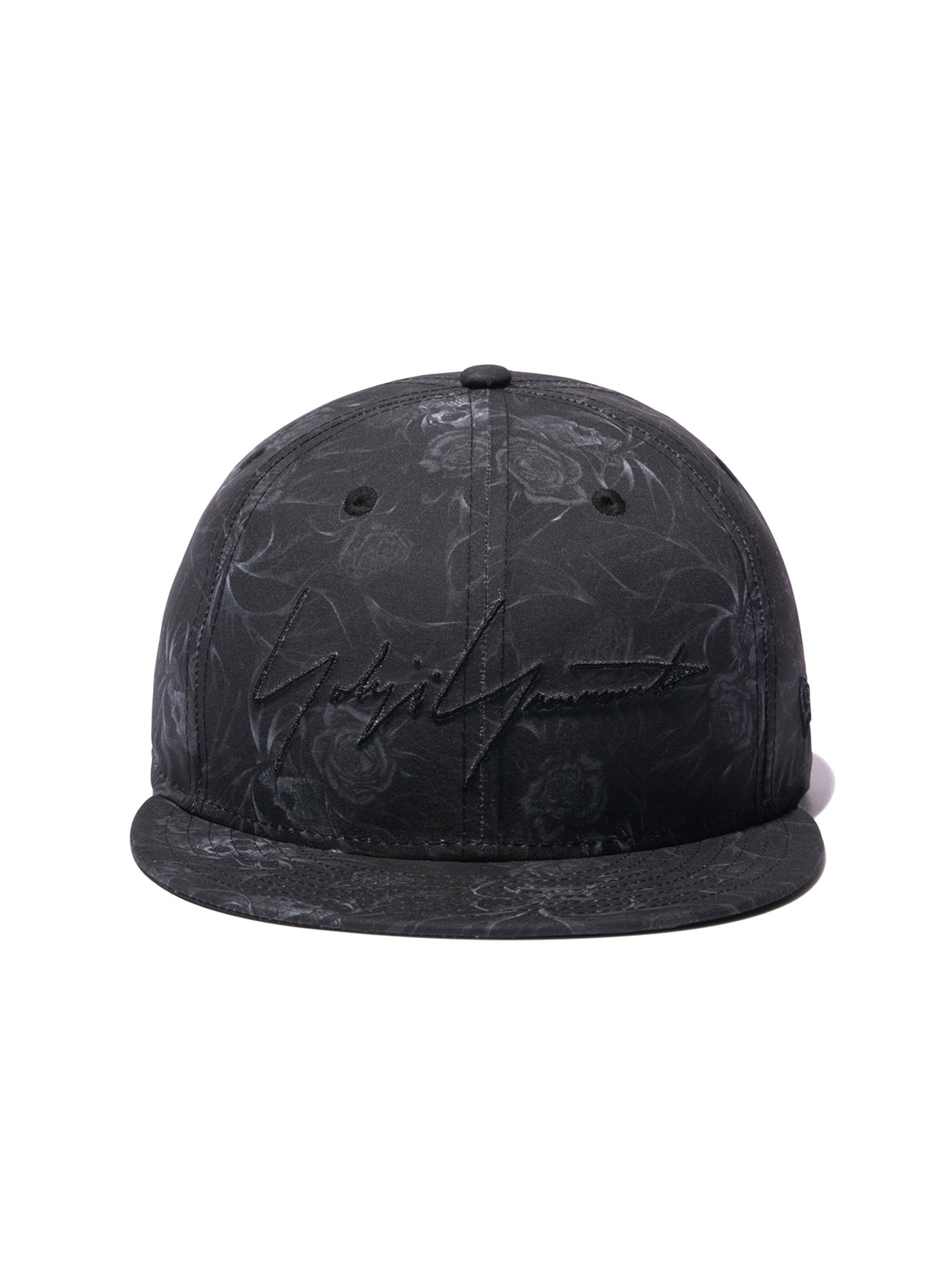 Yohji Yamamoto × New Era POLYESTER TRANSCRIPTION PRINT SKULL ROSE 59FIFTY BLACK
