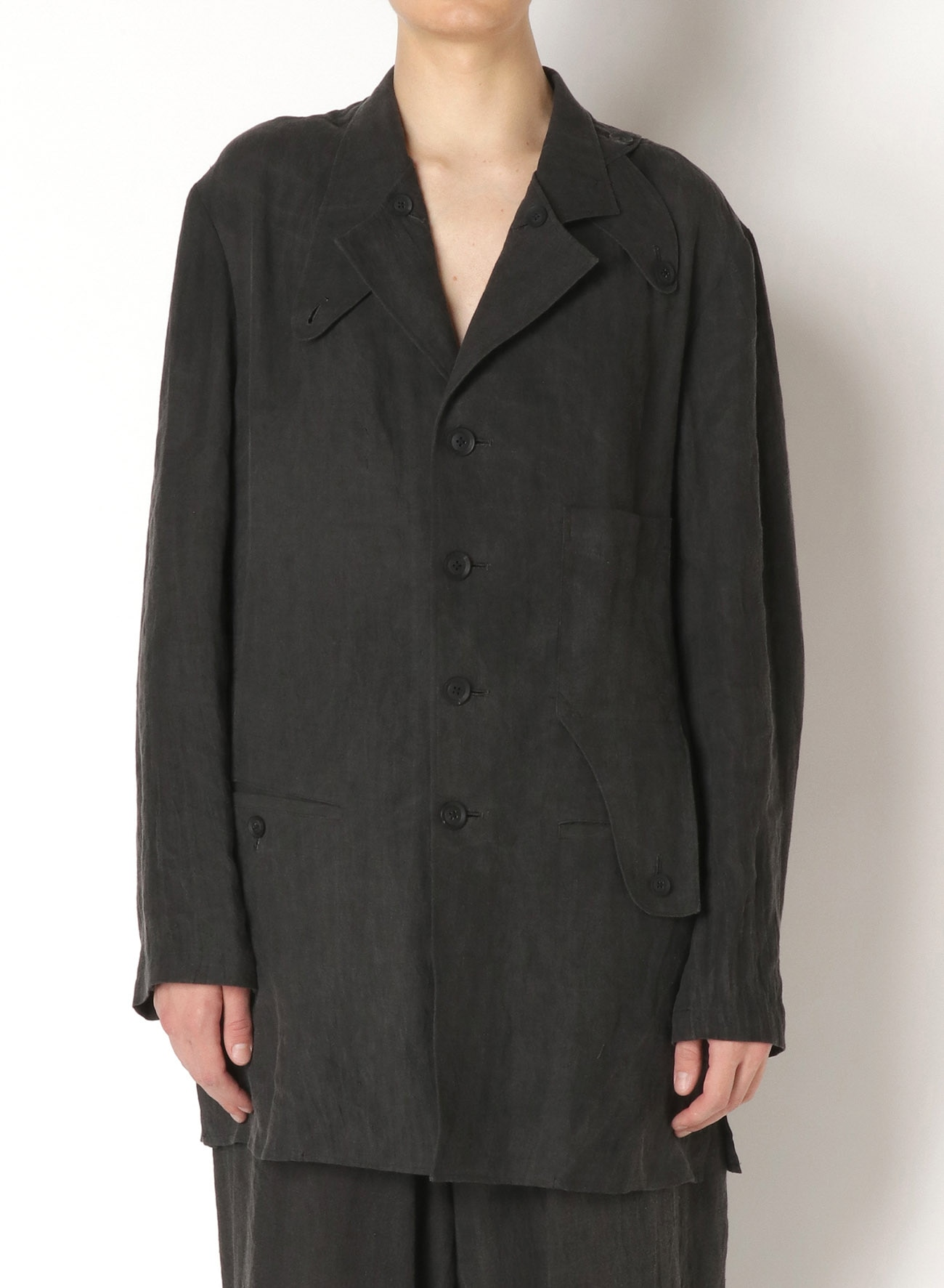 LINEN INK DARK LEFT BUTTON OPEN LINEN JACKET