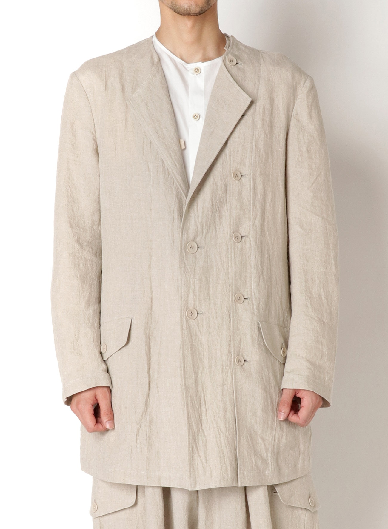 LINEN ddw NO COLLAR LEFT BUTTON JACKET