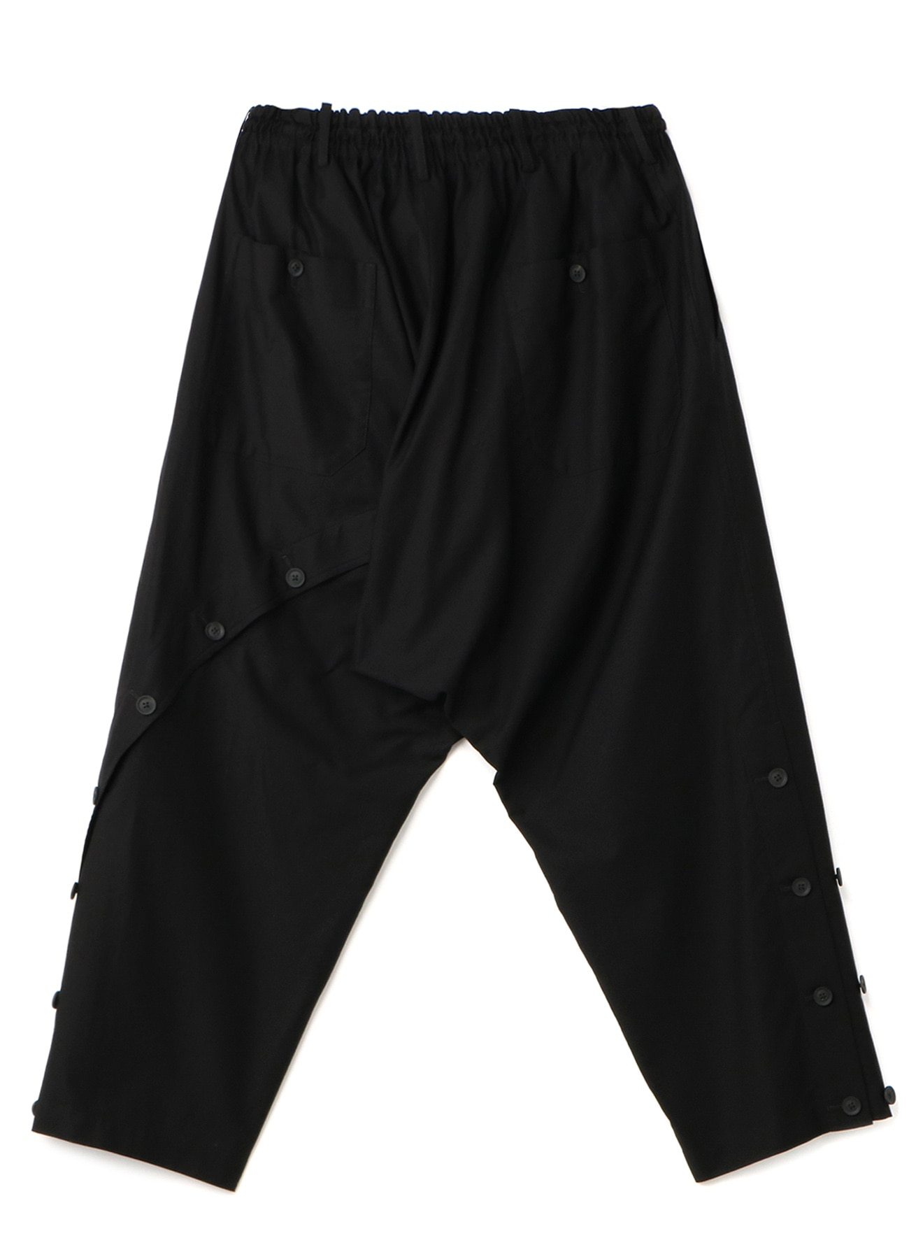 BLACK C/TWILL BUTTON OPEN PANTS