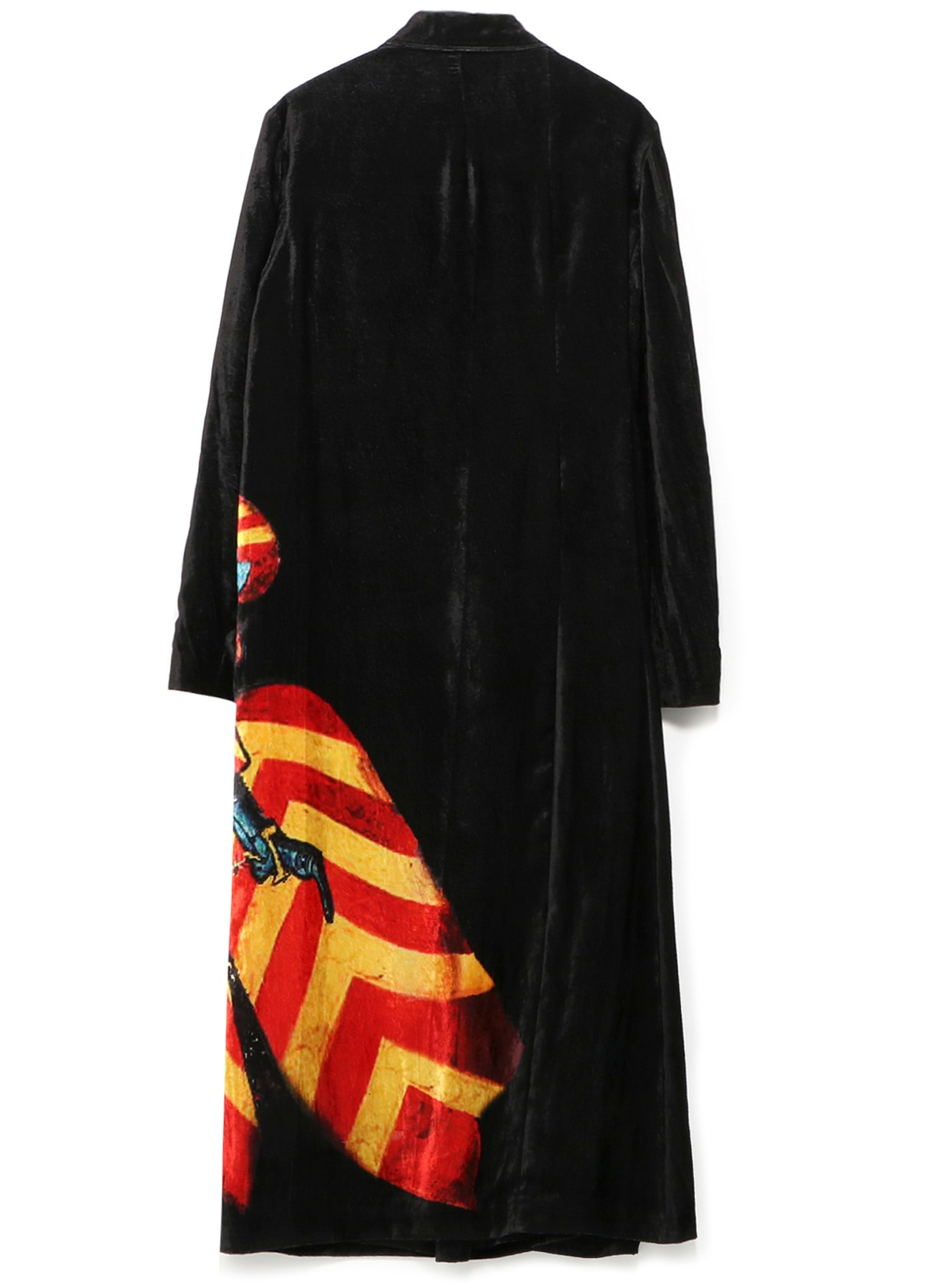 Knight Pattern Velvet Right Flared Long Dress