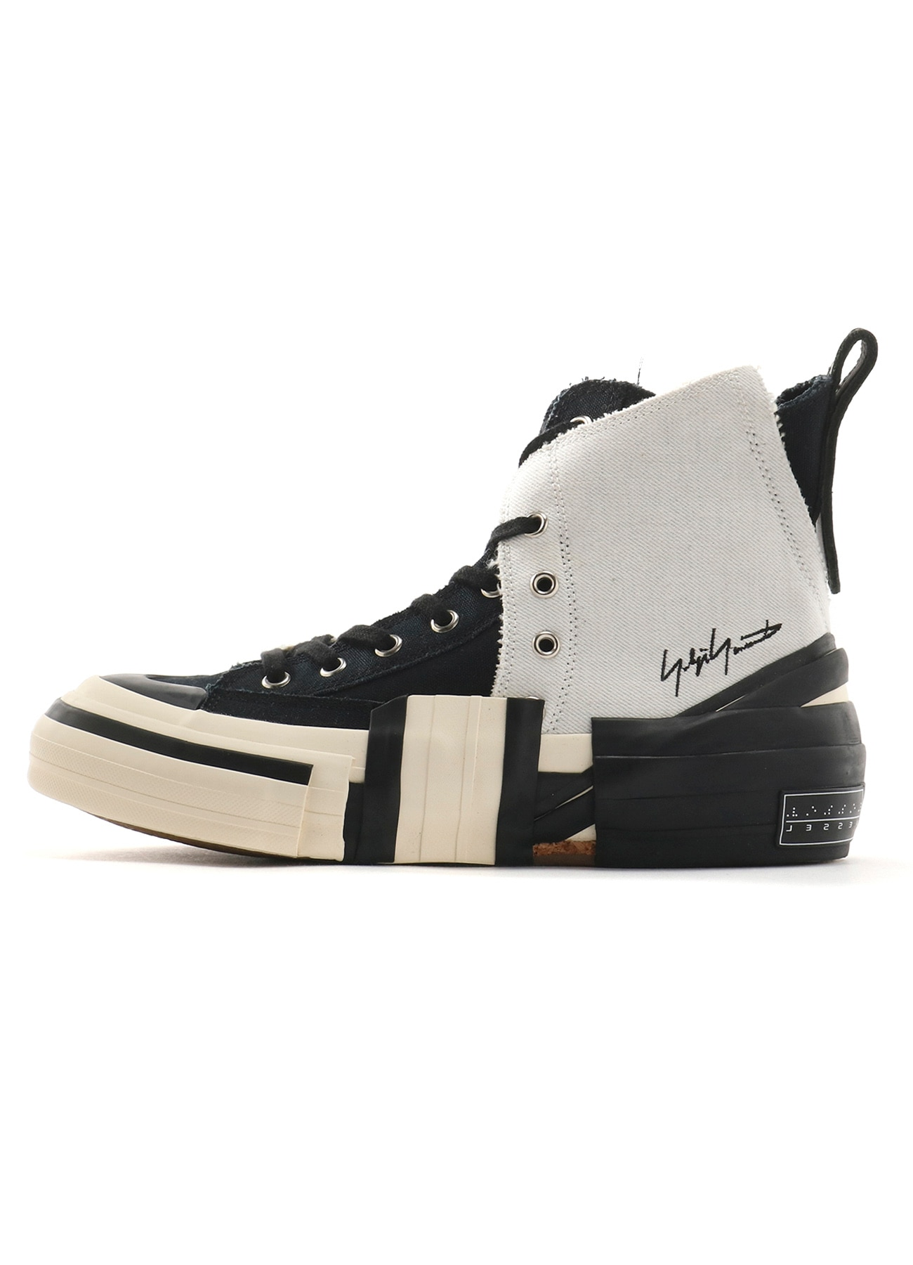 Yohji Yamamoto × VESSEL C/SNOW DENIM LAYERED HIGH TOP SNEAKERS WHT