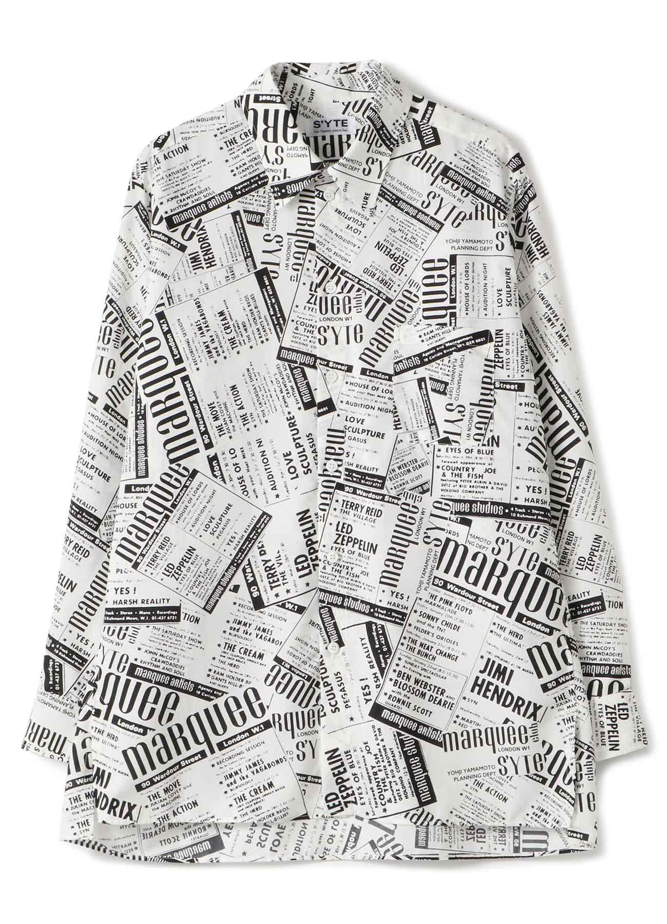 S'YTE × marquee club(TM) Polyester Span Loan Newspaper Regular Shirt