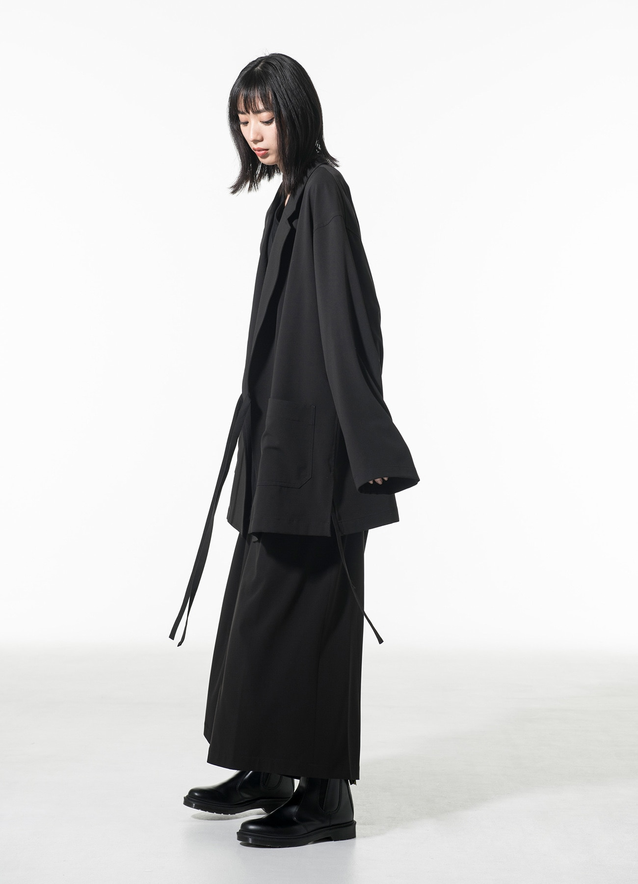 Pe/Rayon Gabardine Stretch Wrap Haori Tailored Jacket