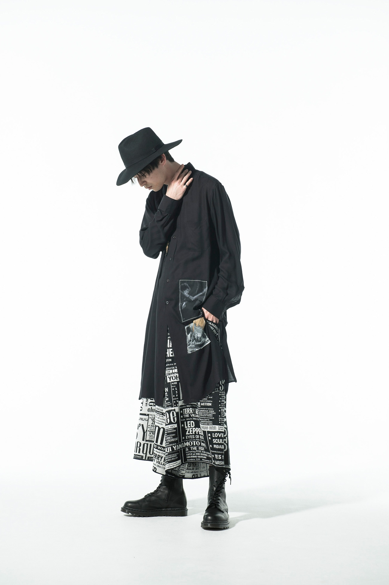 S'YTE × marquee club(TM) Newspaper Collage Hameauze Jacquard Culottes Pants