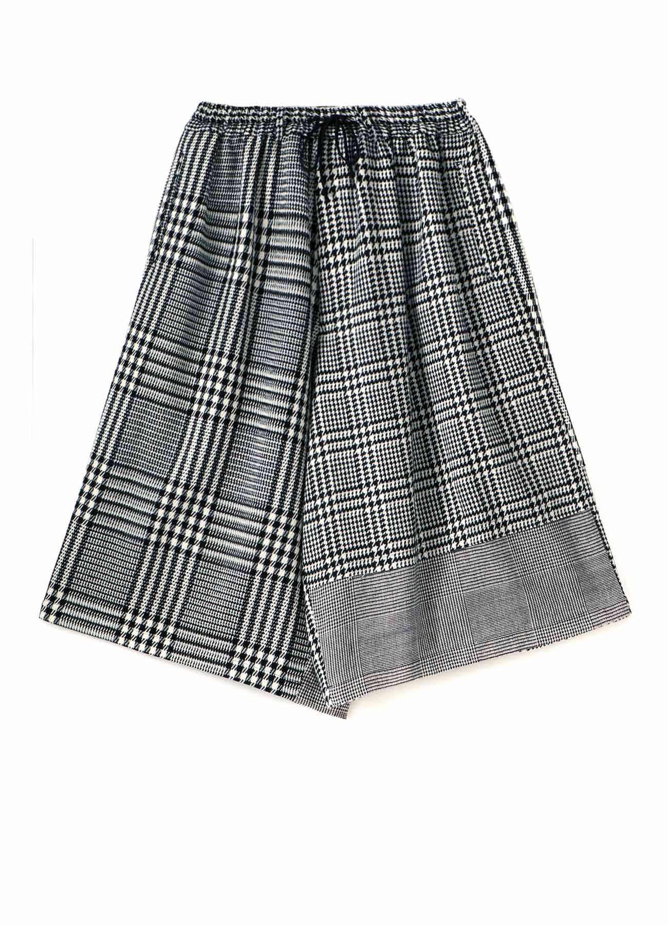 Glen Check Tweed Panel Culotte Pants