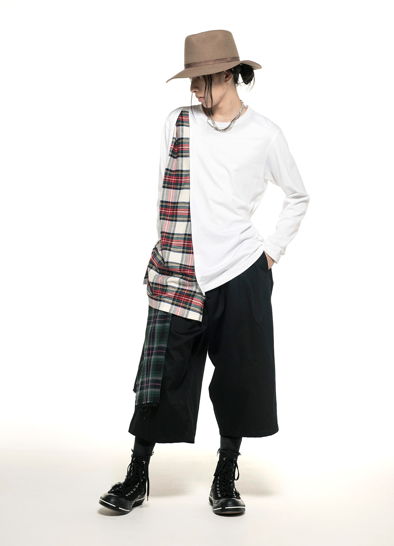 40/2 Cotton Jersey Tartan Check Layered Asymmetry Drape T-shirt