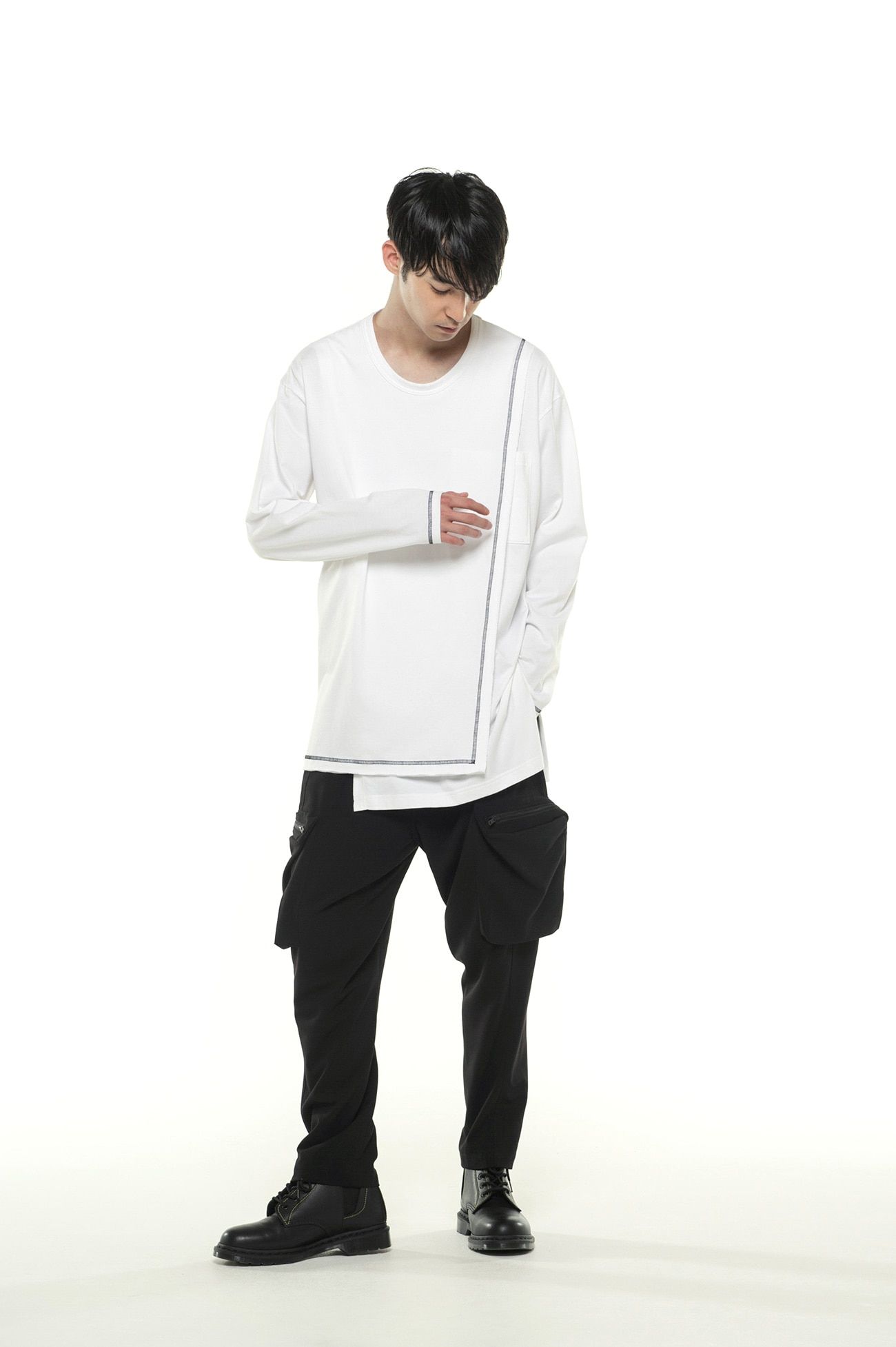 40/2 Cotton Jersey Crew Neck Half-Layered ColorLock Long Sleeve T-Shirt