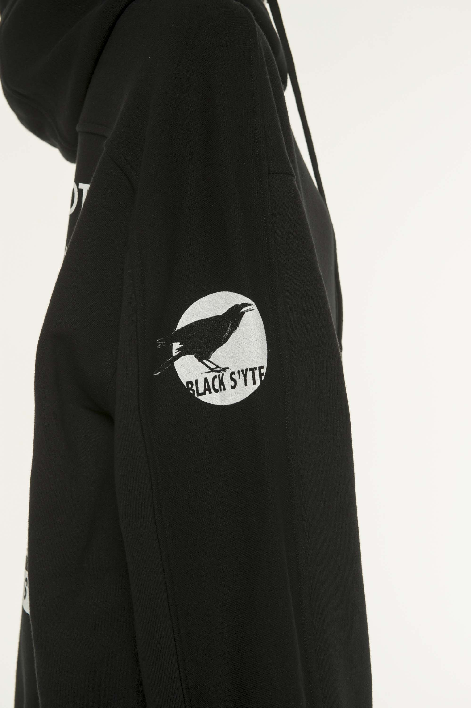 French Terry Stitch Work Message & Crow Zipper Hoodie