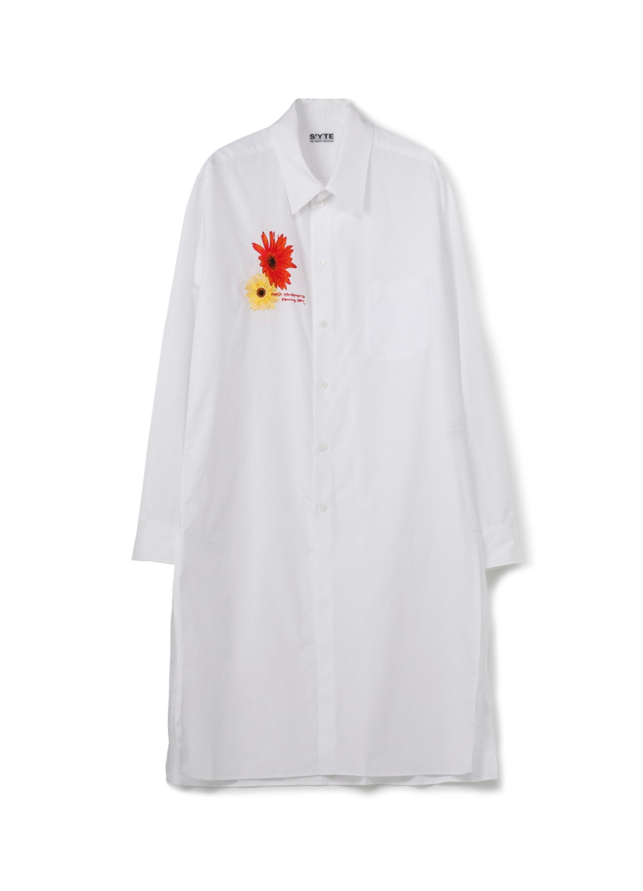 100/2 Broad Sunflower Gerbera Flower Embroidery Regular Collar Long Shirt