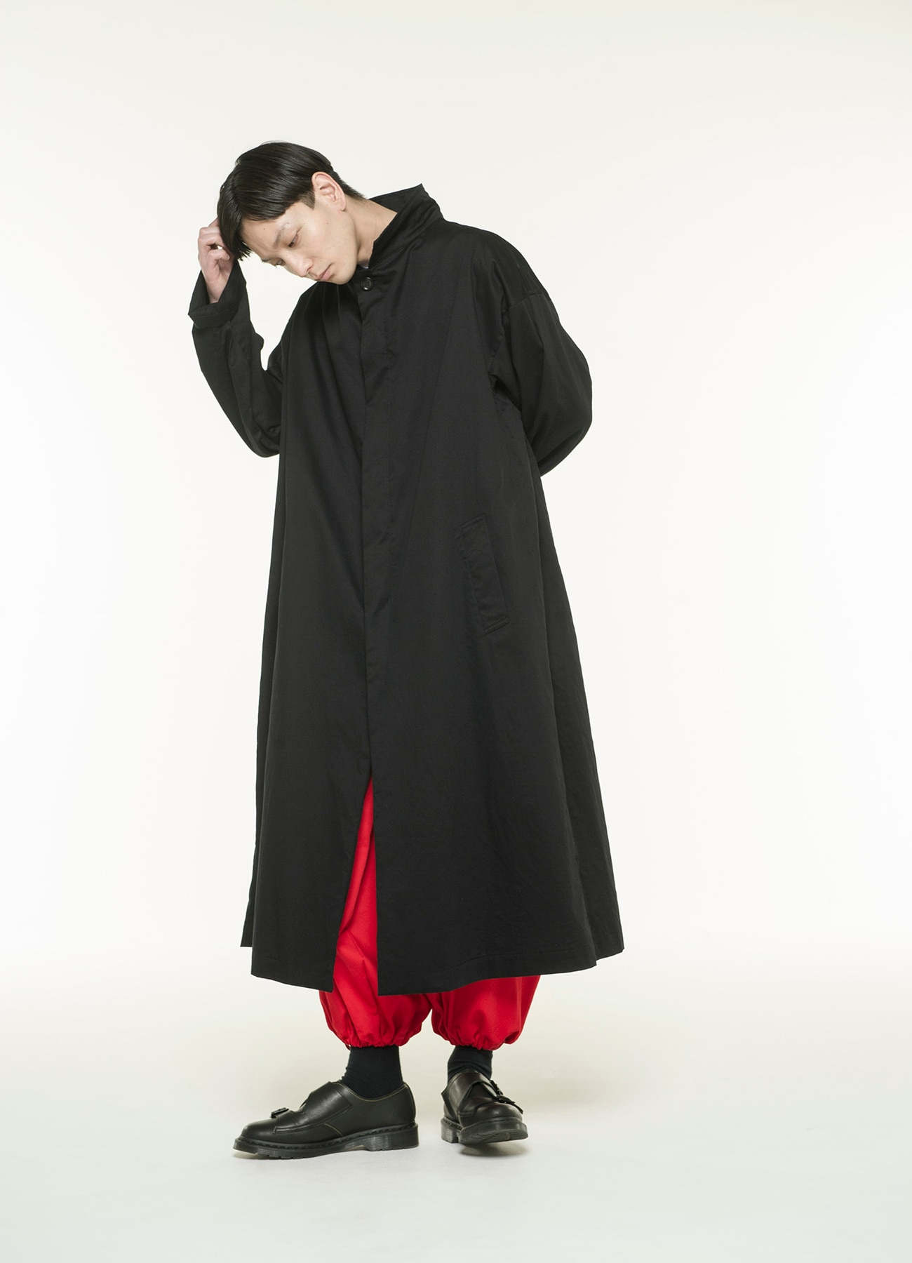 20/Cotton Twill Big Fly Front Button Long Coat
