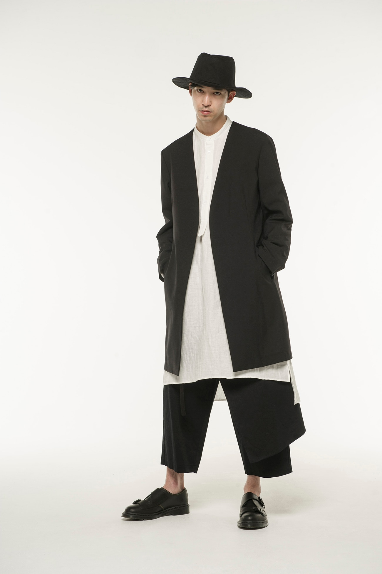 Wool Tropical No Collar Long Jacket