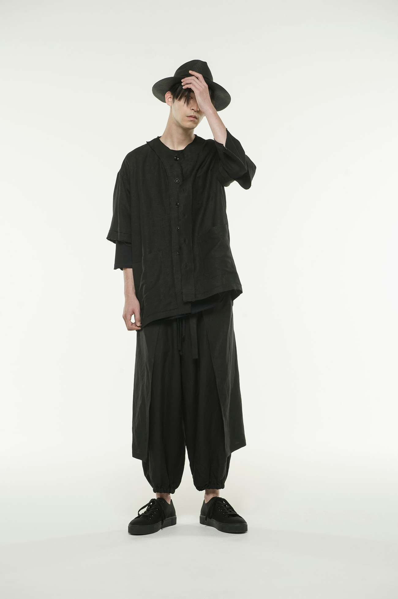 Rayon Linen Easy Cross・B Hem Both Sides Wrap Pants