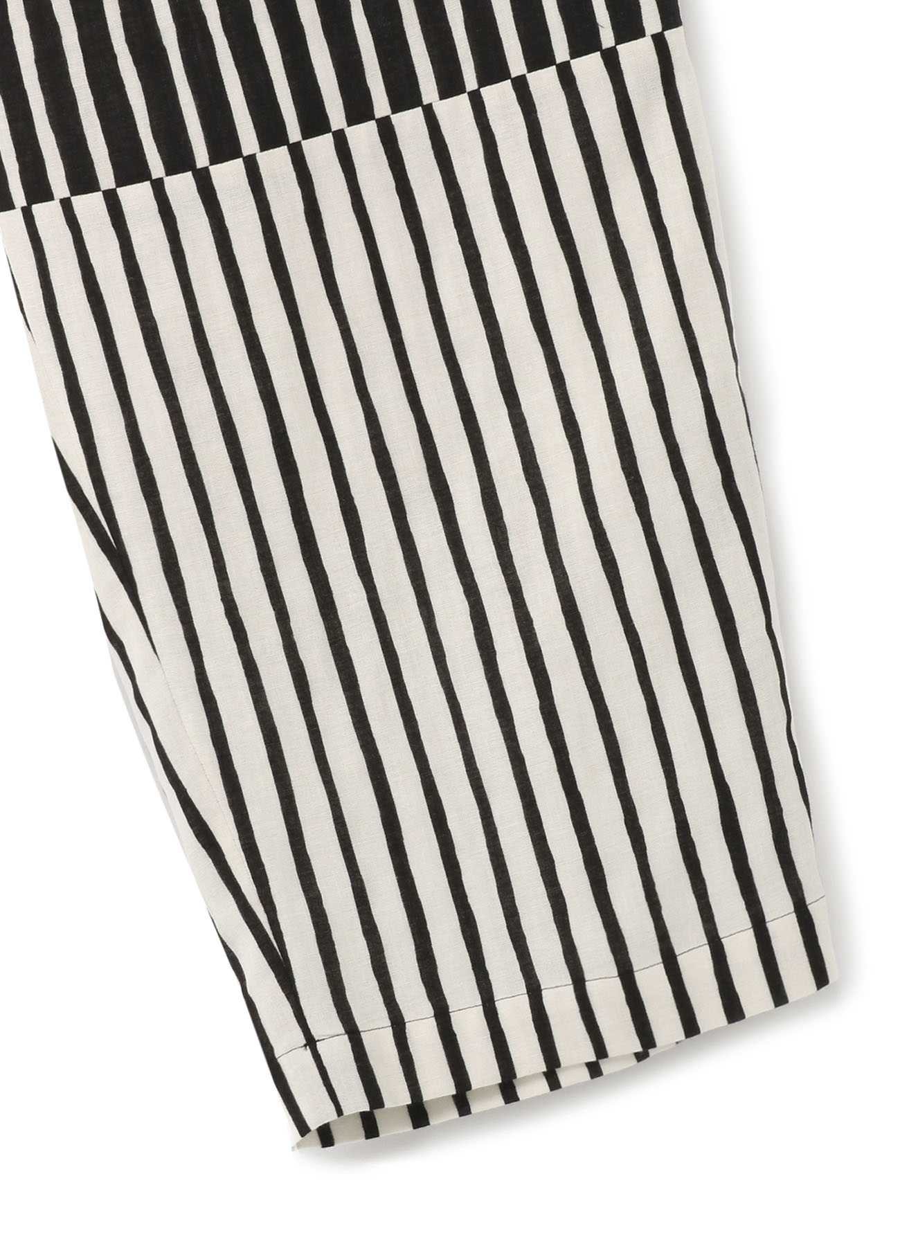Two-Tone Stripe Panel 3Tuck High Waist Pants