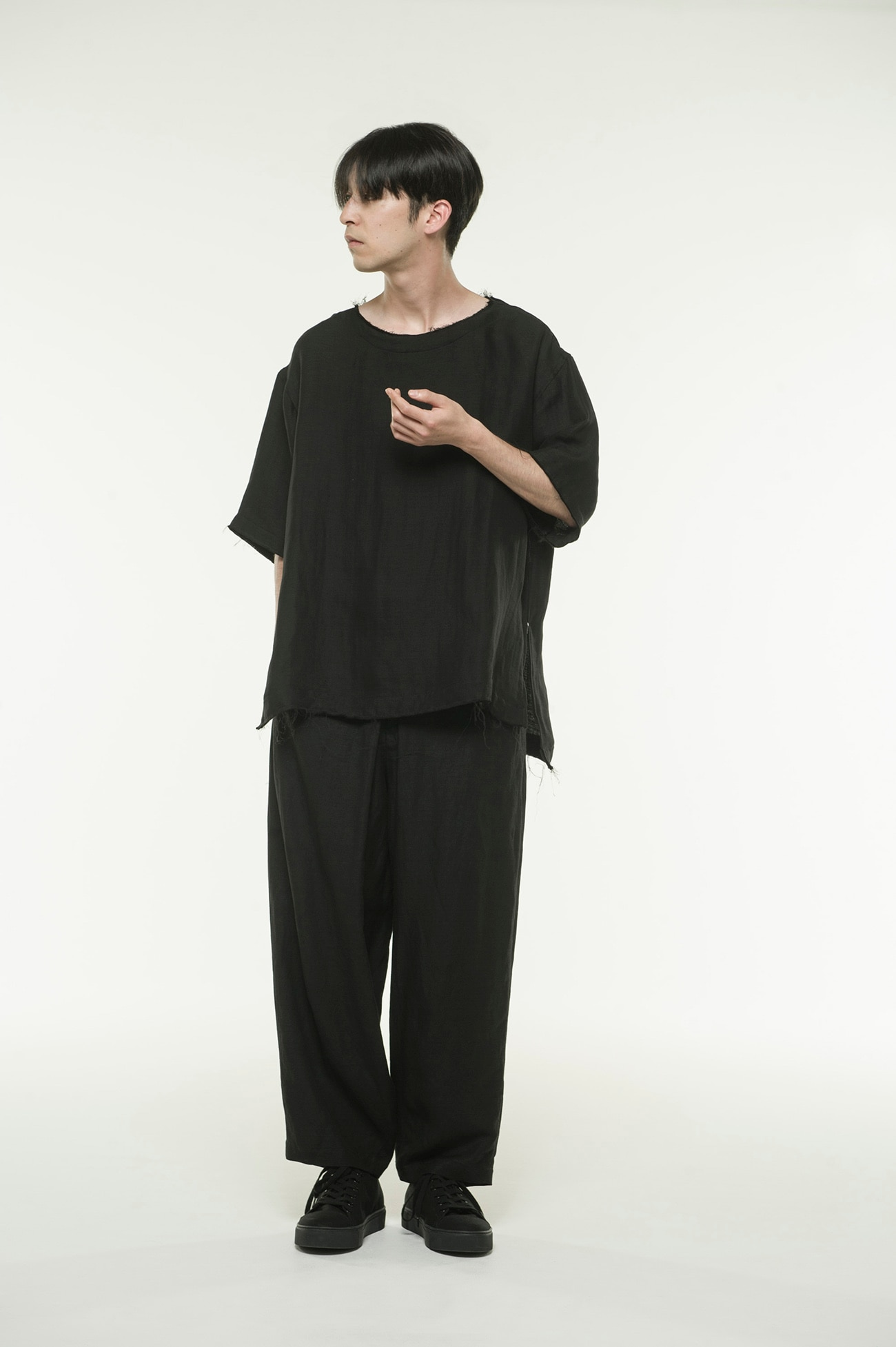 Rayon Linen Easy Cross・B Center Wide Tack Pants