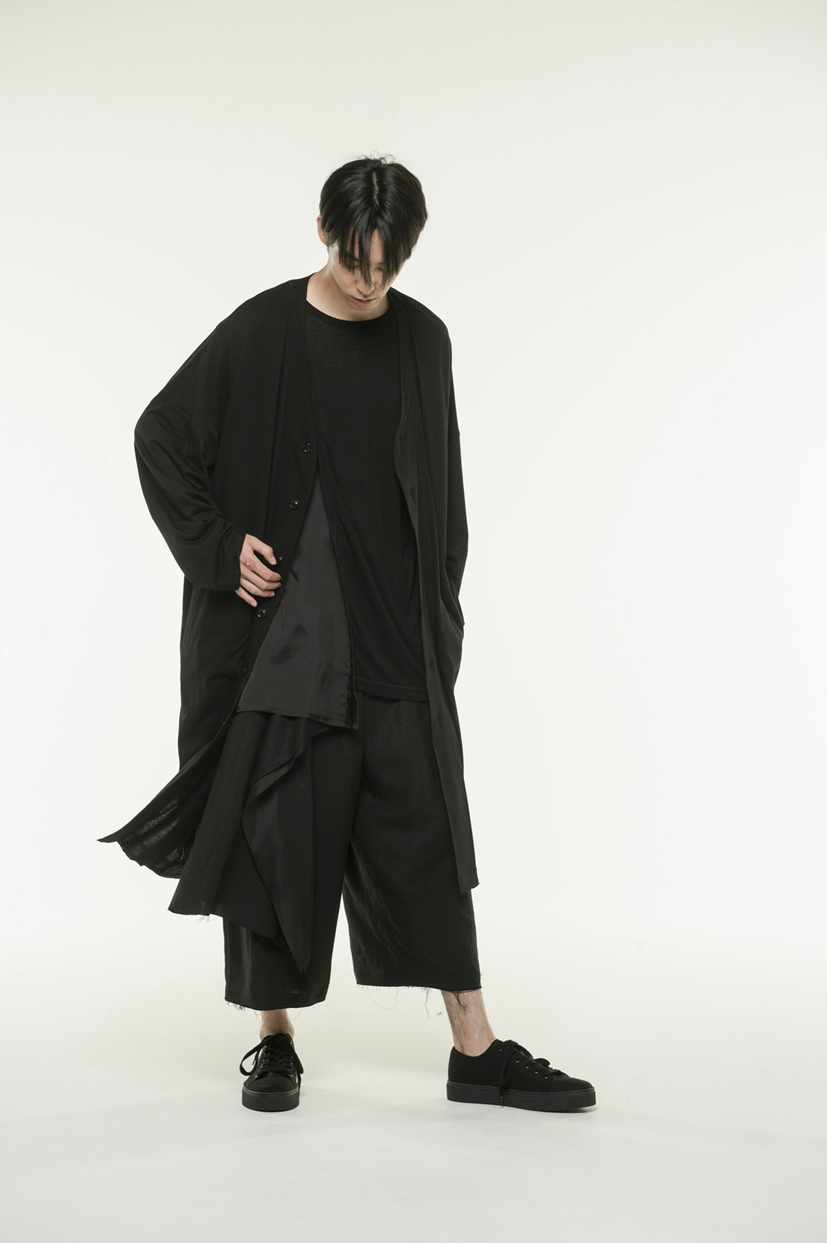 Cotton Lyocell Jersey V-neck Long Coat Cardigan
