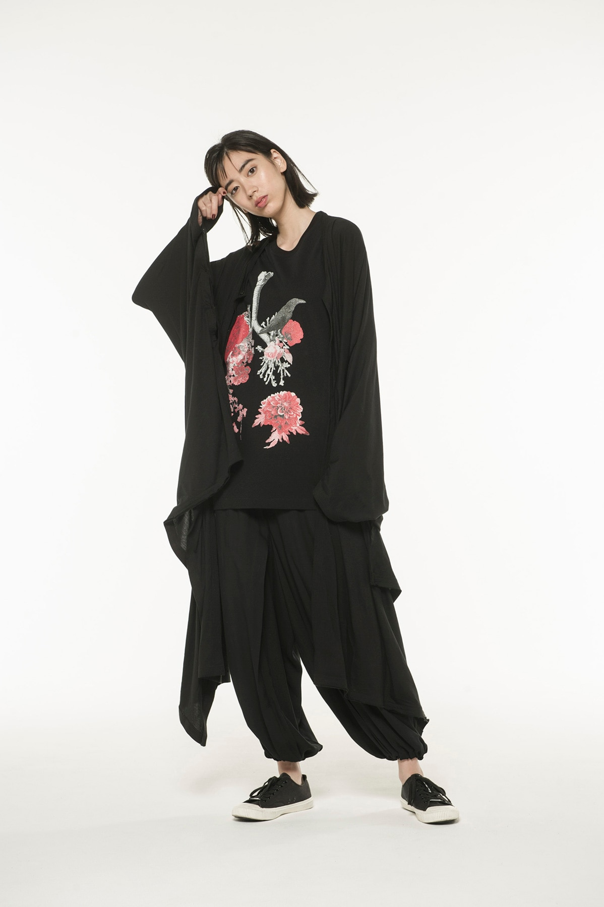 Cotton Lyocell Jersey Crew Neck Button Big Poncho