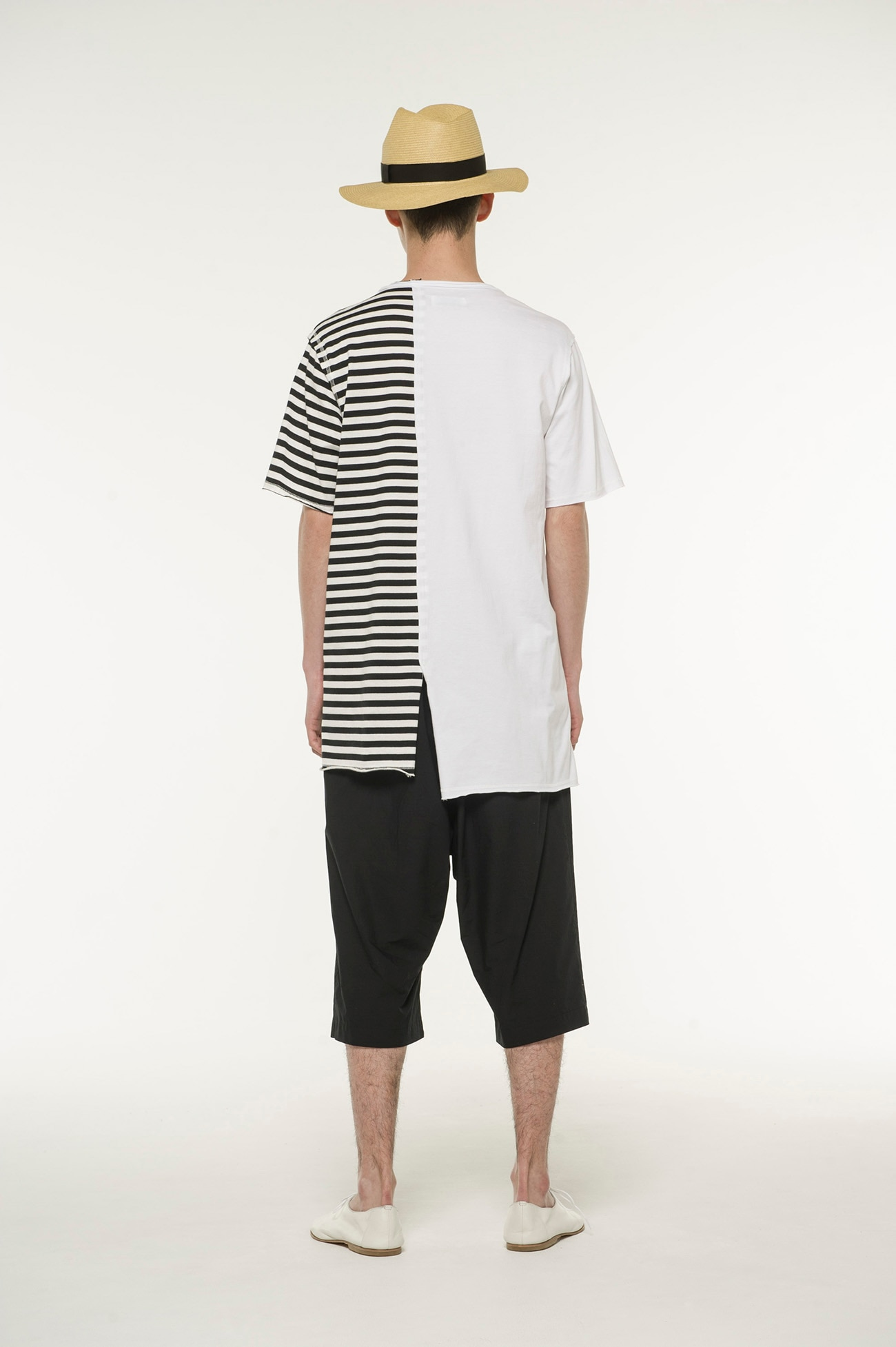 40 /-Combed Jersey Asymmetry border T-shirt