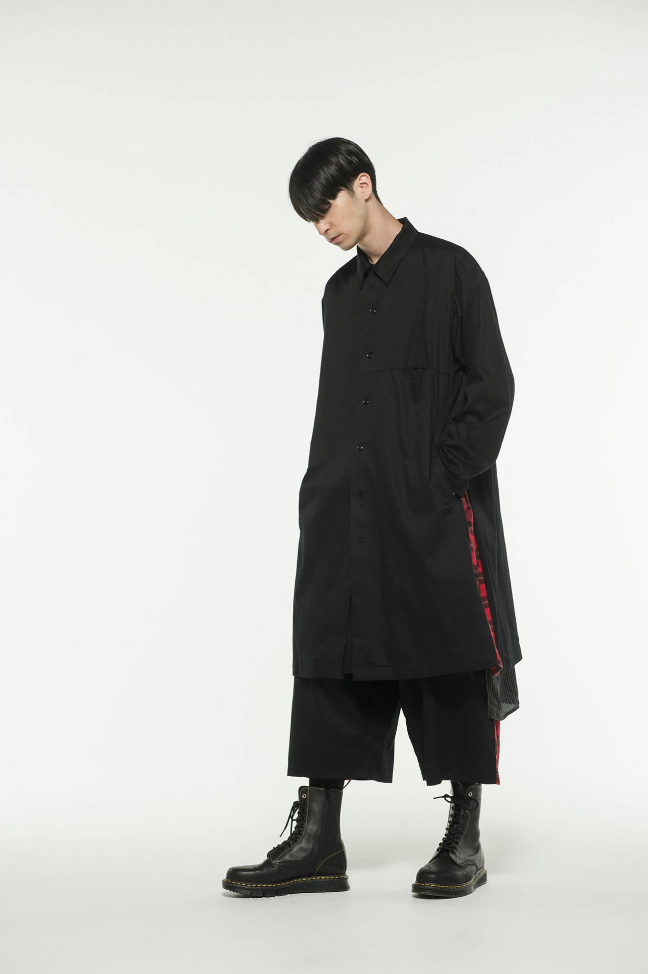 20/Cotton Twill Side Pleated Tartancheck Long Shirt Jacket