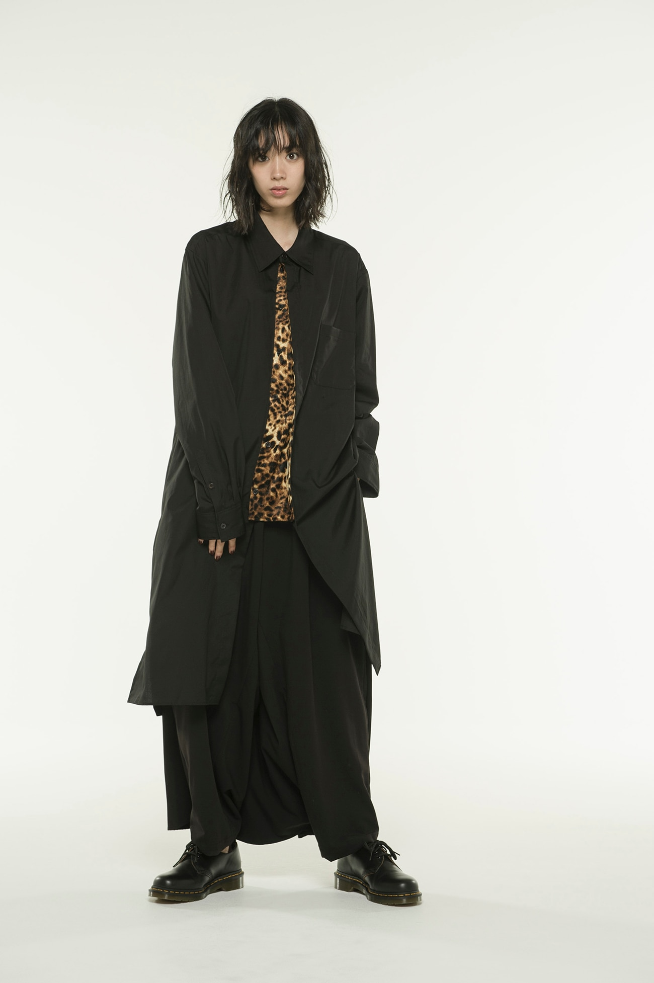100/2 Broad Leopard Pe / Velor Pleated Long Shirt