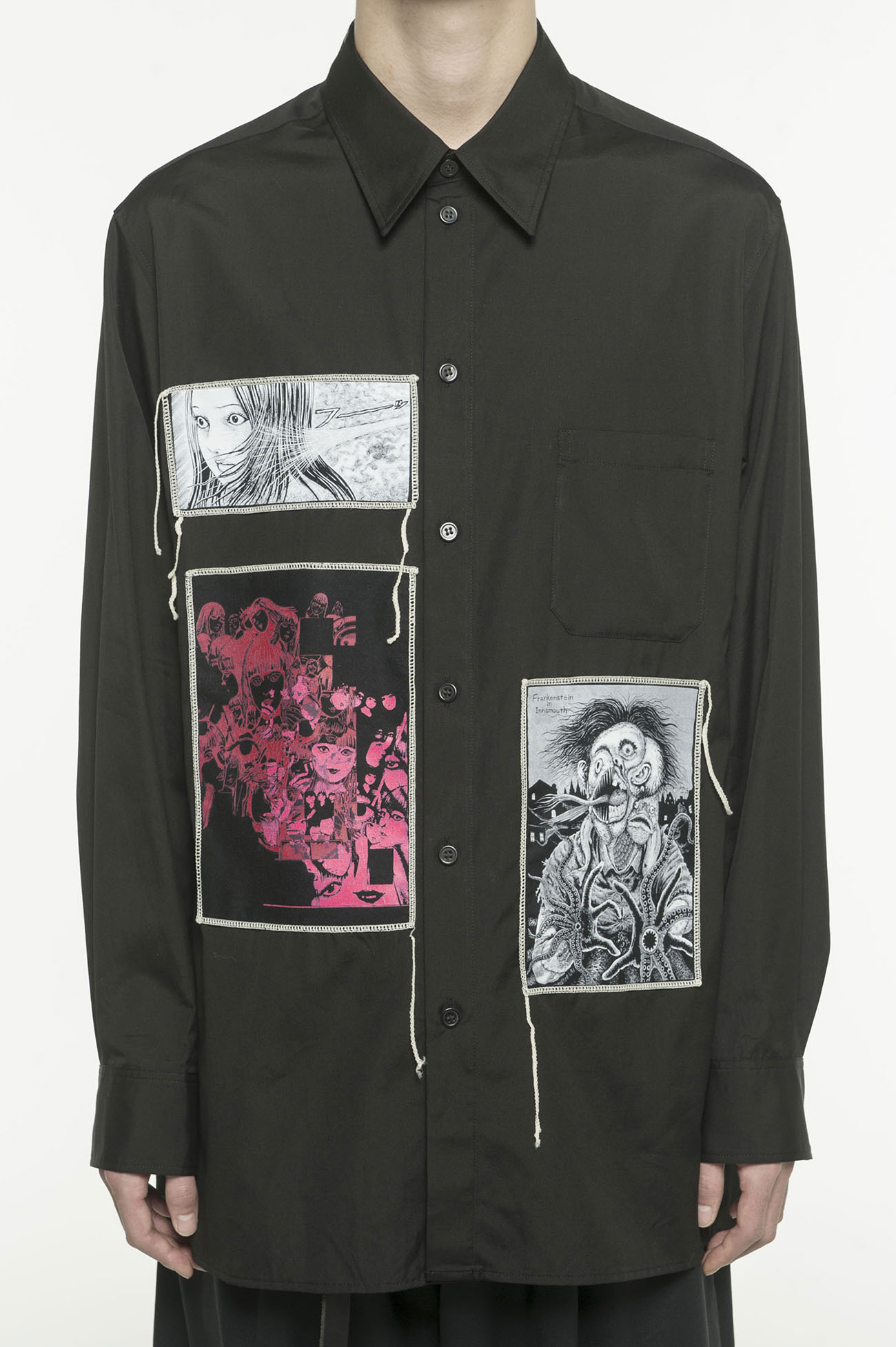 "100/2 Broad Junji Ito ""Best of Best"" Printed Patch Shirt"
