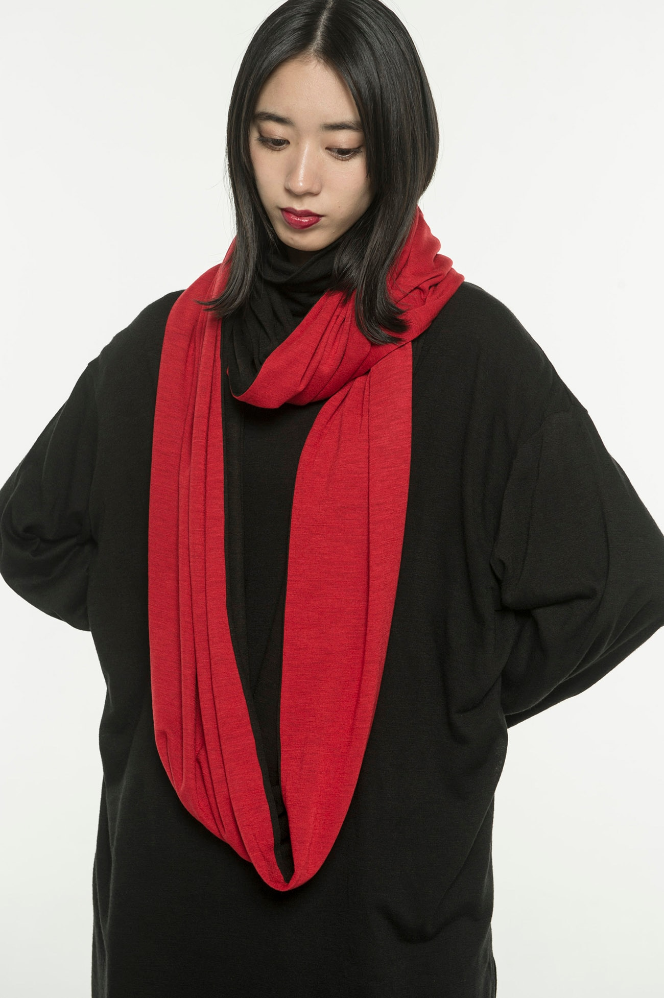 Wool Acrylic Jersey Big Snood × RED