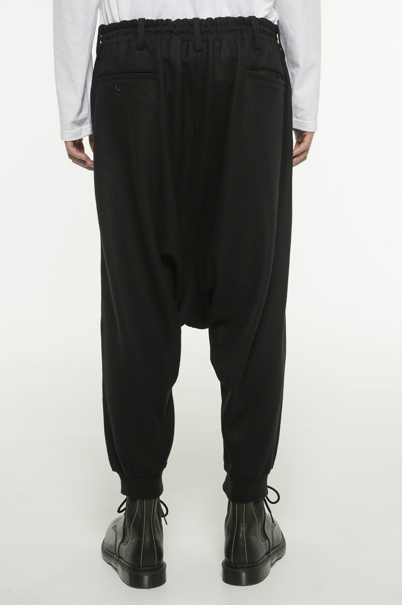 Compression Wool Hem Rib Balloon Sarouel Pants
