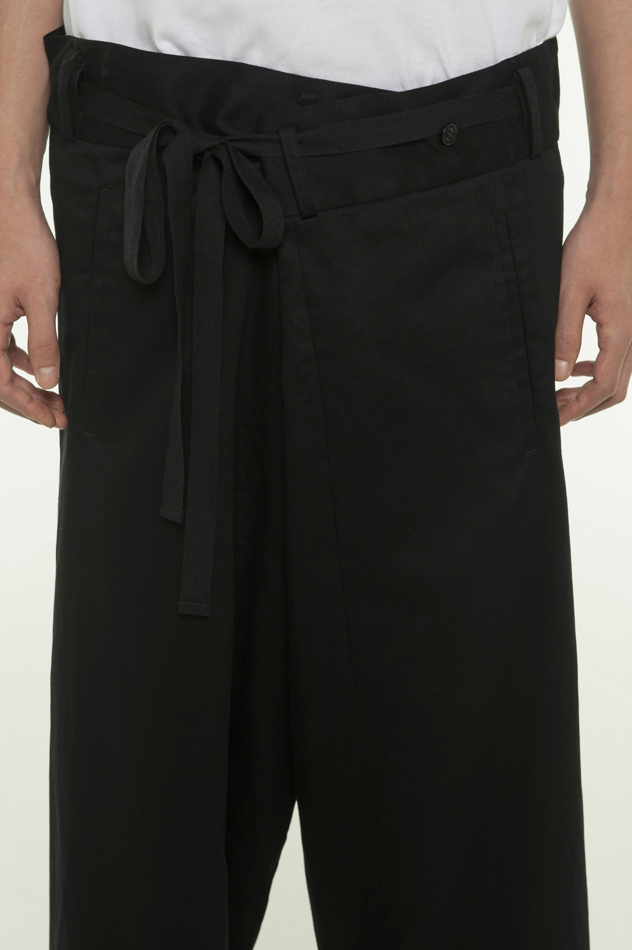 20 / Cotton Twill Waist Fold Wide Pants