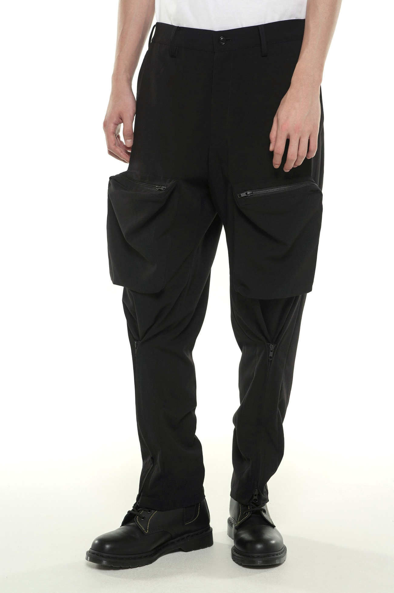 Pe / Rayon Gabardine Stretch Bondage Zipper Cargo Pants
