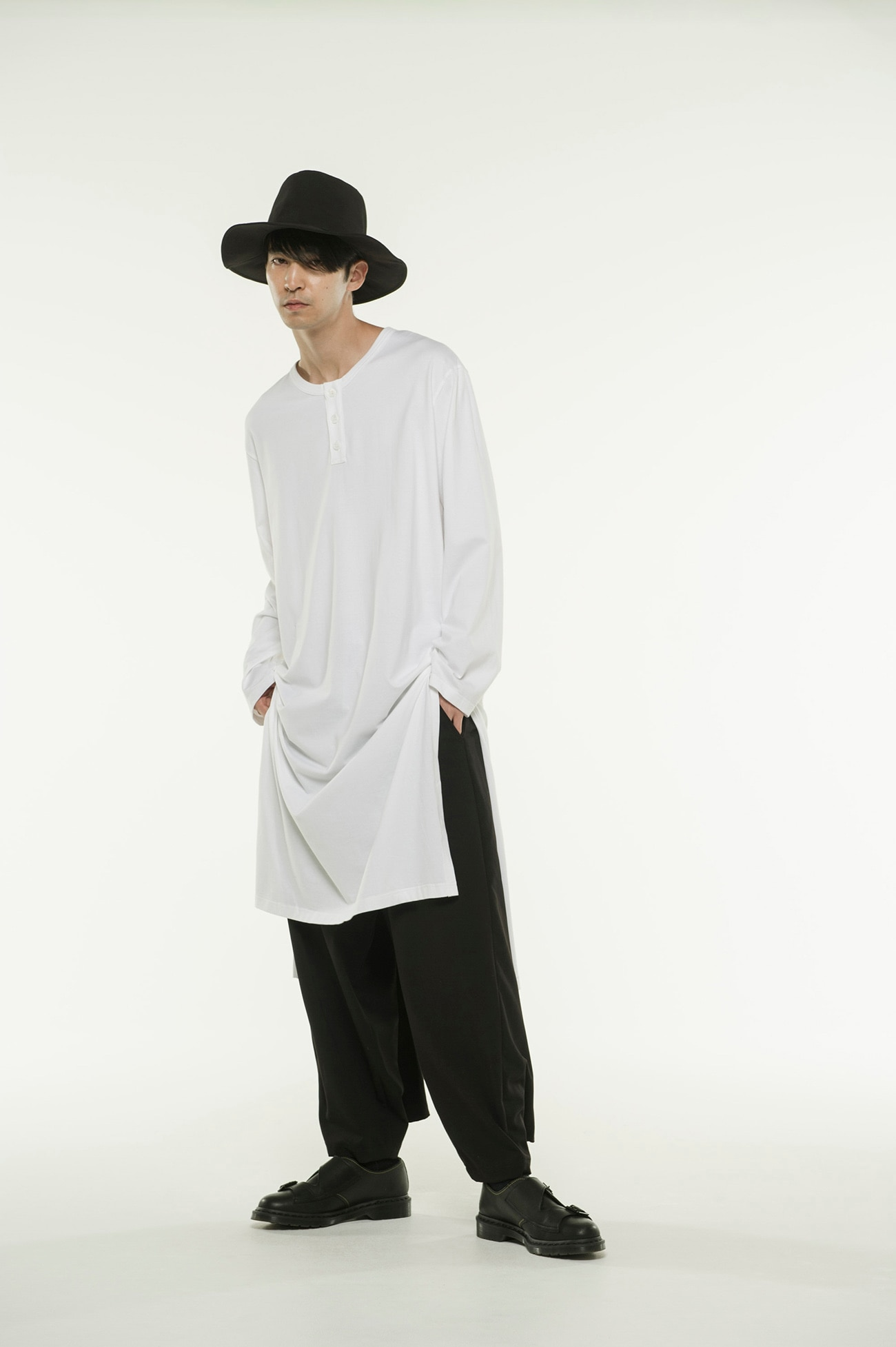 40/2 Cotton Jersey Henry Neck Slit Dress T-Shirt