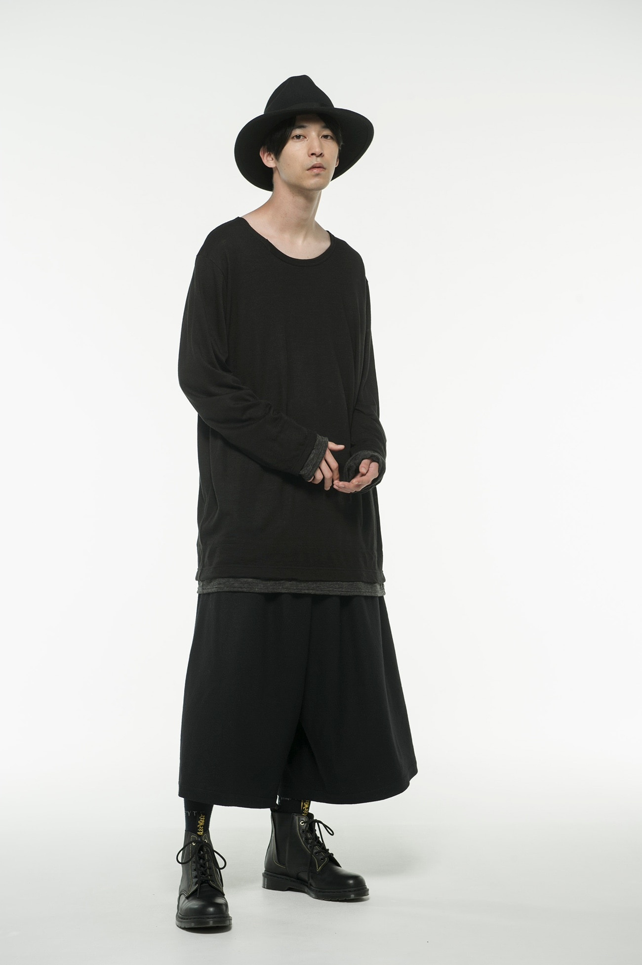 Wool Acrylic Jersey Crew Panel Color Slit