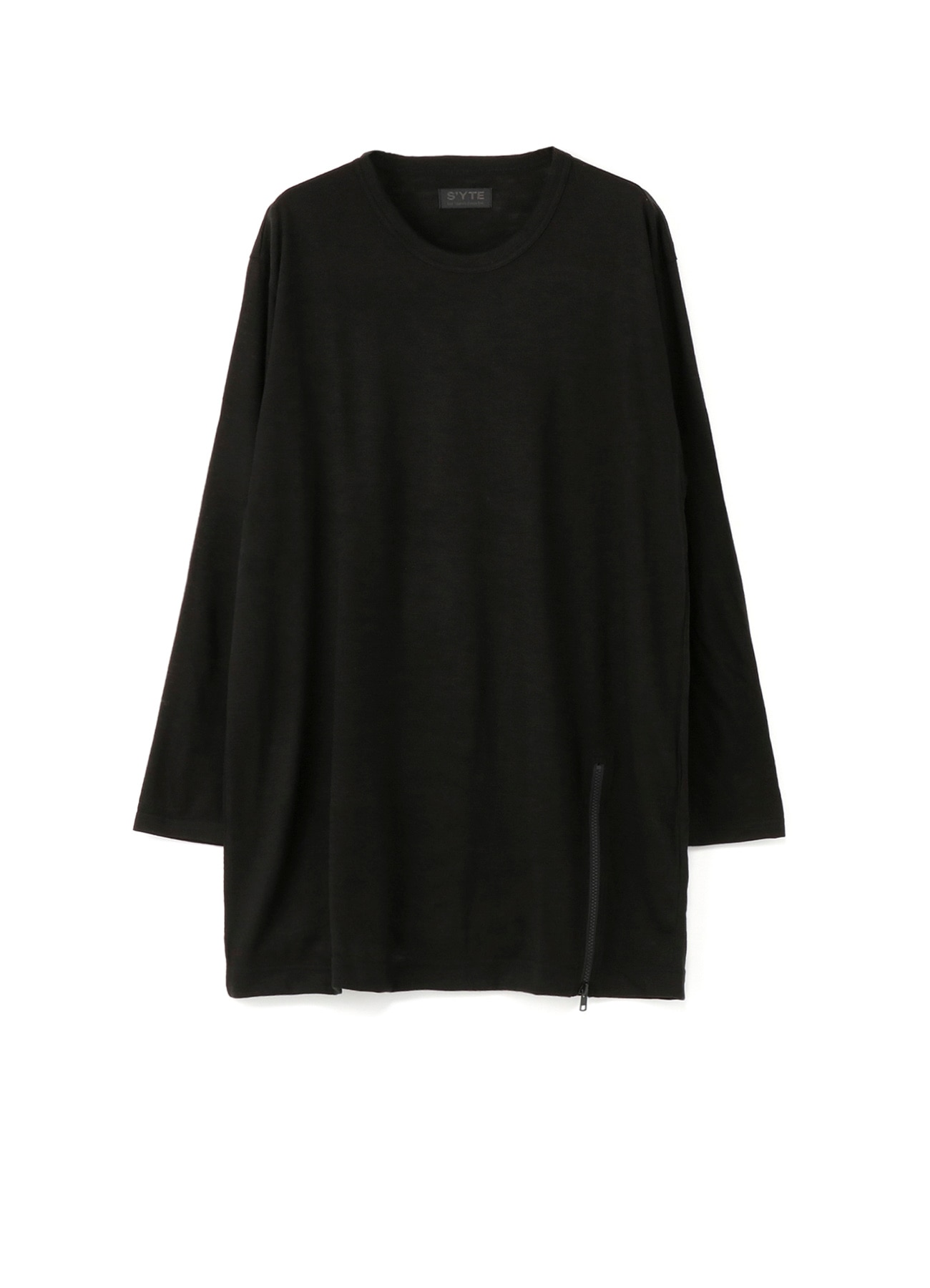 Wool Acrylic Jersey Hem Slit Zipper Big Crew