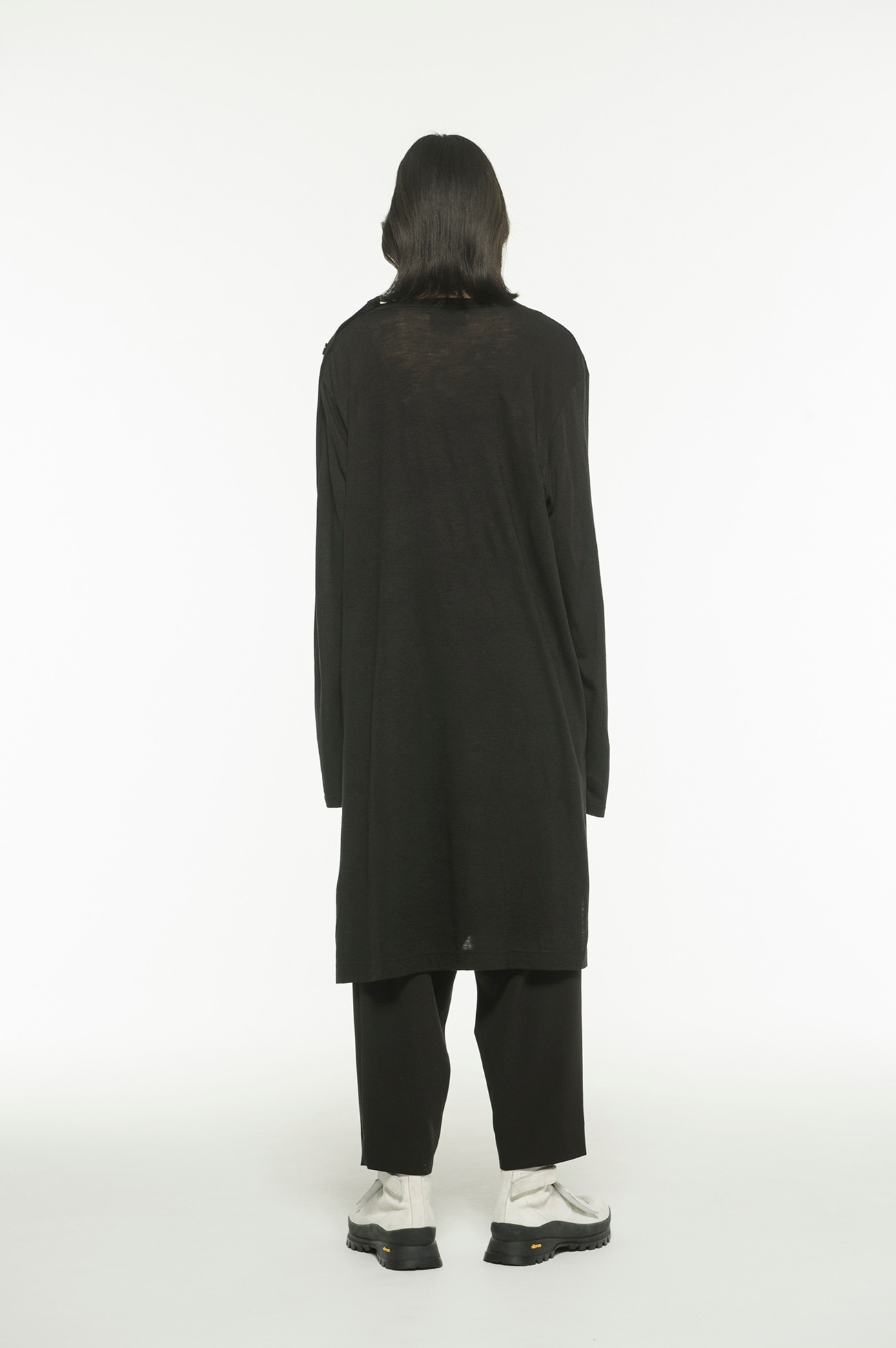 Wool Acrylic Jersey Shoulder Button Long Big Crew