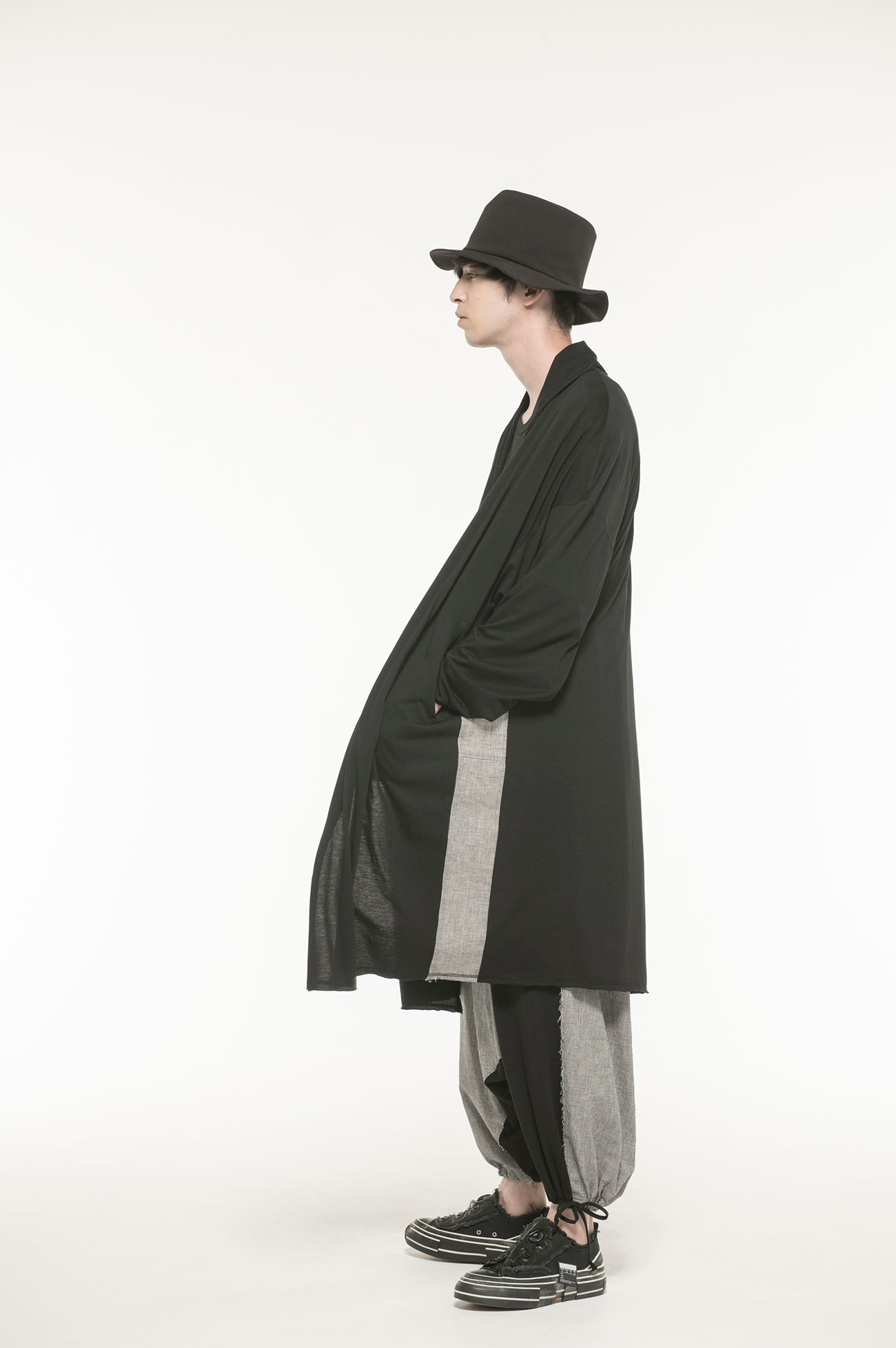 C/Lyocell Jersey_ Check Sewing Shawl Collar Big Gown Coat