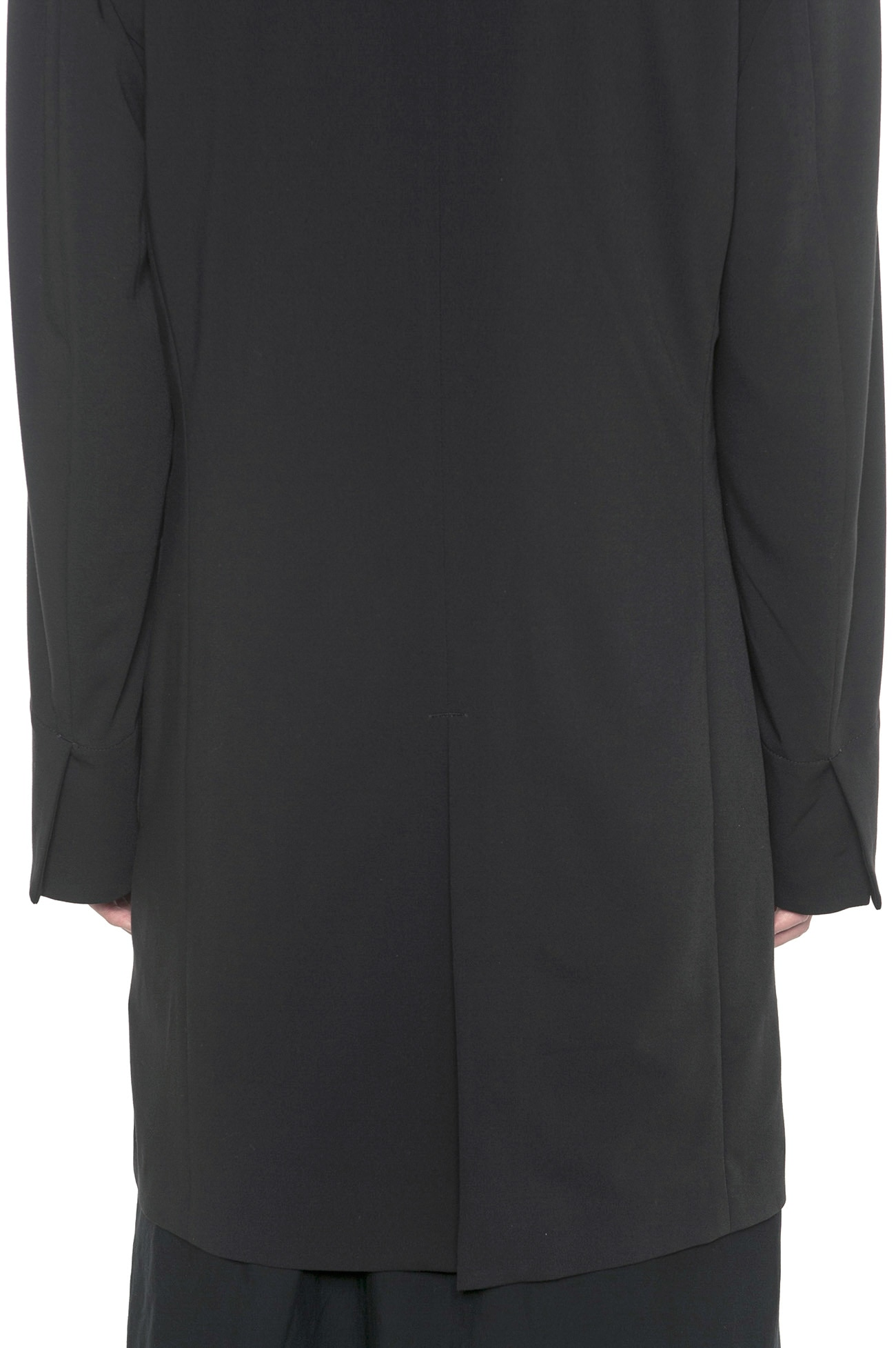 Pe/Rayon Gabardine Stretch Upper Collarless Long Jacket