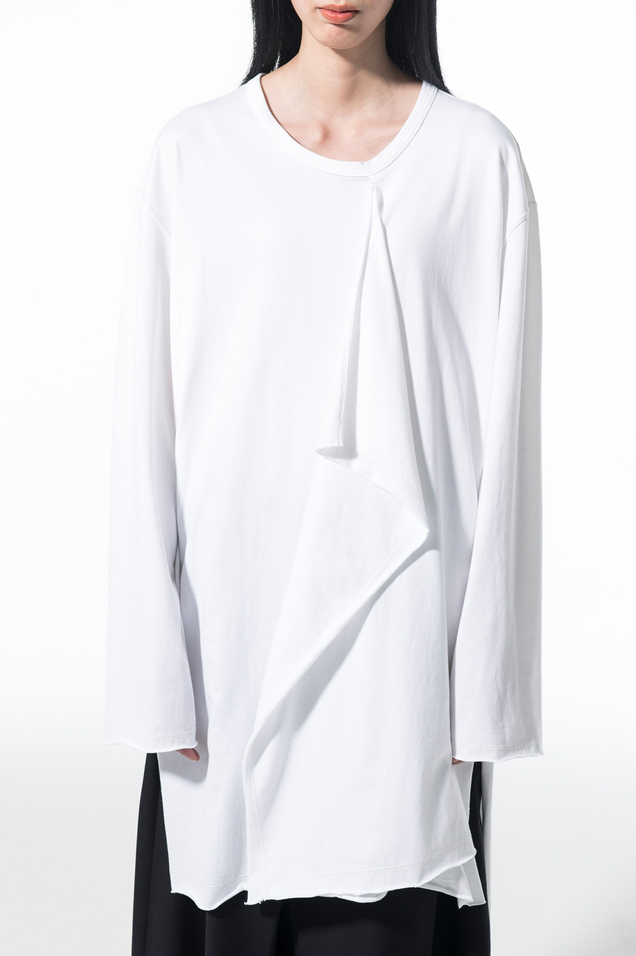 40/2 Jersey Front Layer Drape Big Long Sleeve T-Shirt