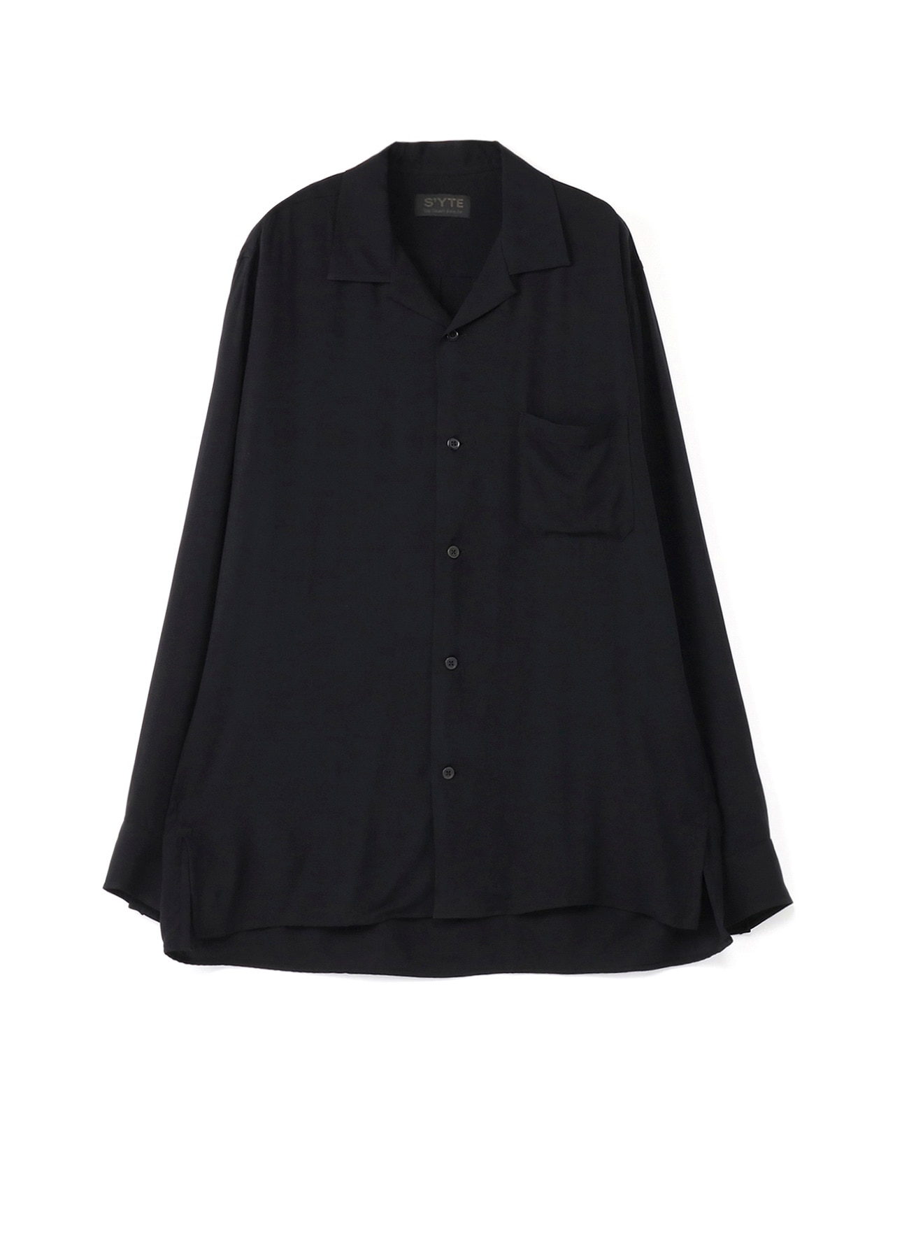 60sRy/Span Twill Washer Open Collar Shirt