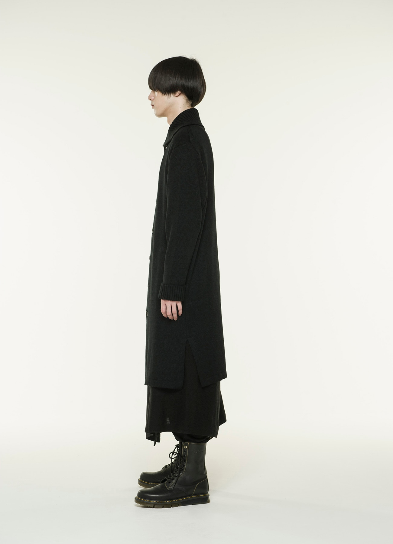Bulky wool code rib collar long knit coat