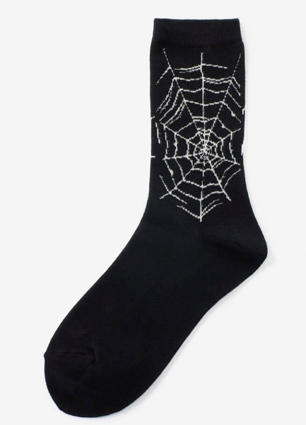 Cotton Plain Stitch Spider Web Socks