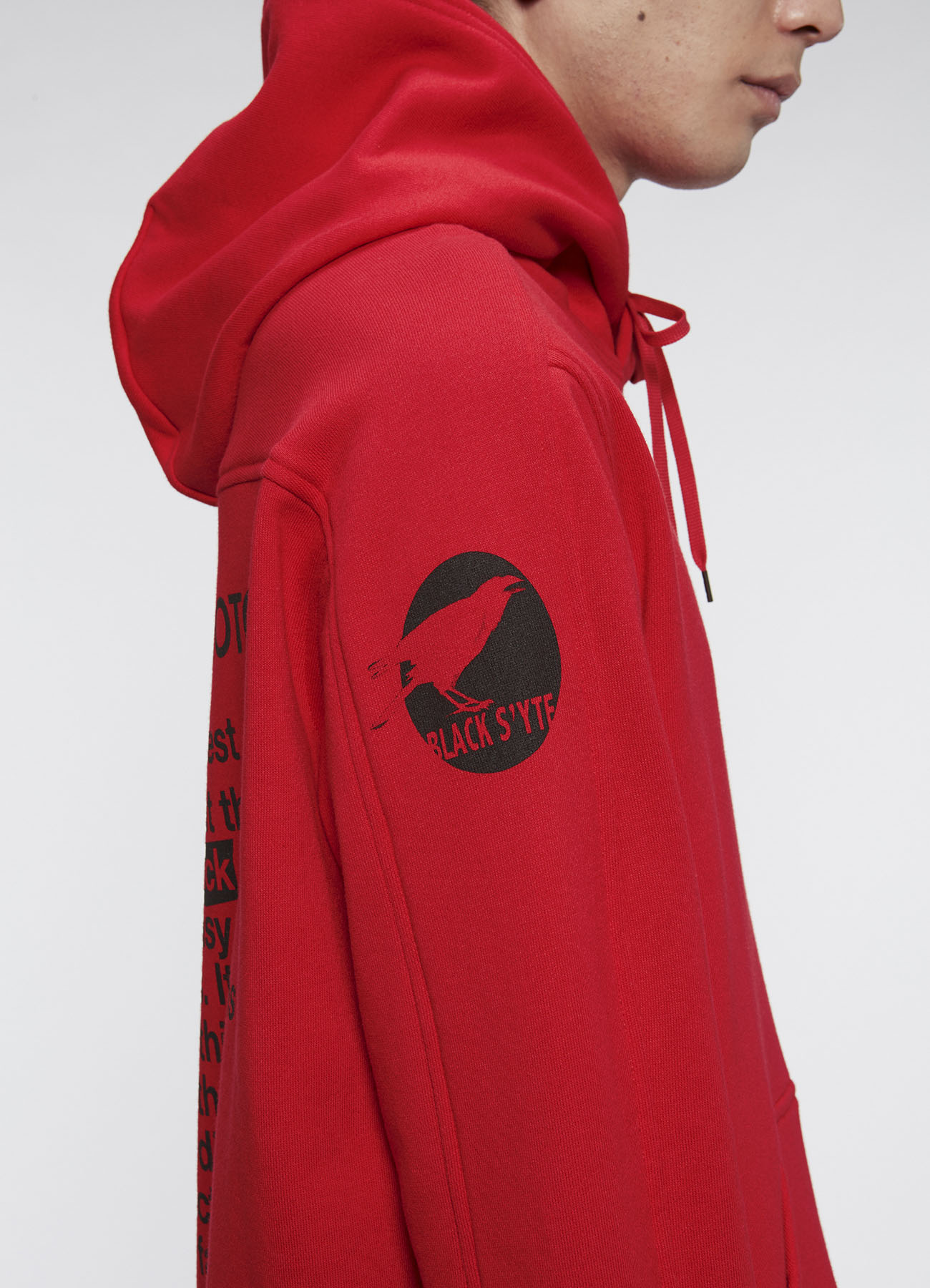 French Terry Stitch Work Message&Crow Hoodie In Red