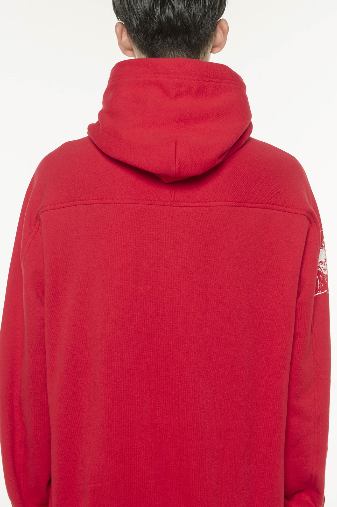 French Terry Stitch Work A Lot of Flowers & Carving Skull Hoodie In Red