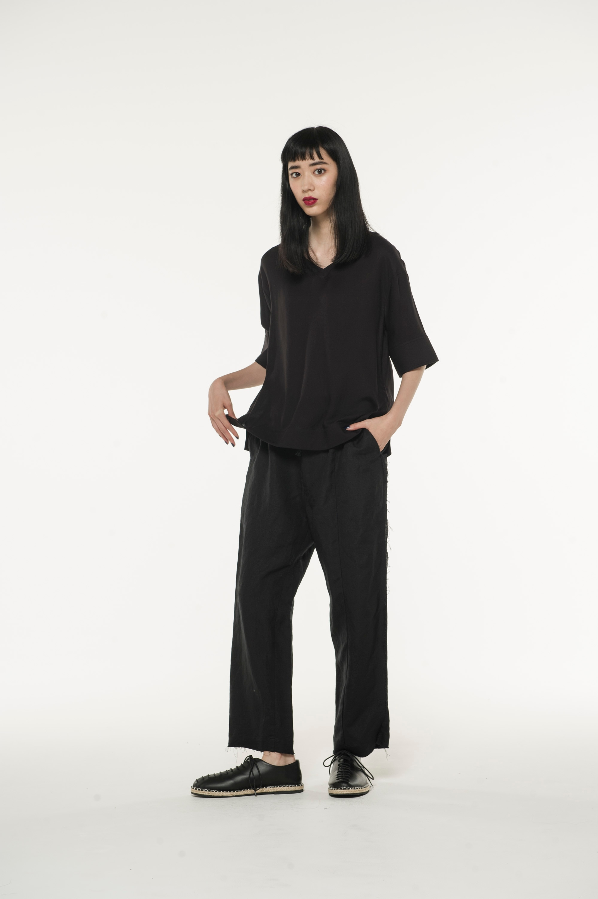 Rayon linen Easy cross Waist Easy Straight Side cutoff pants