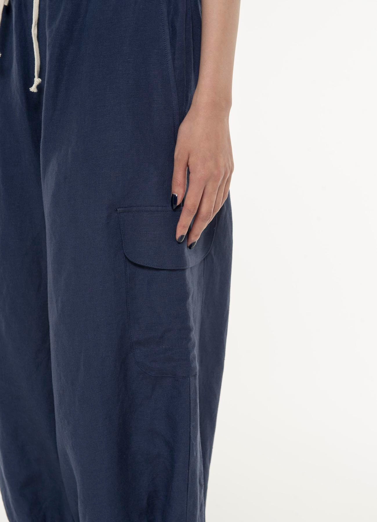 Rayon linen Easy cross Hem lace cropped cargo pants