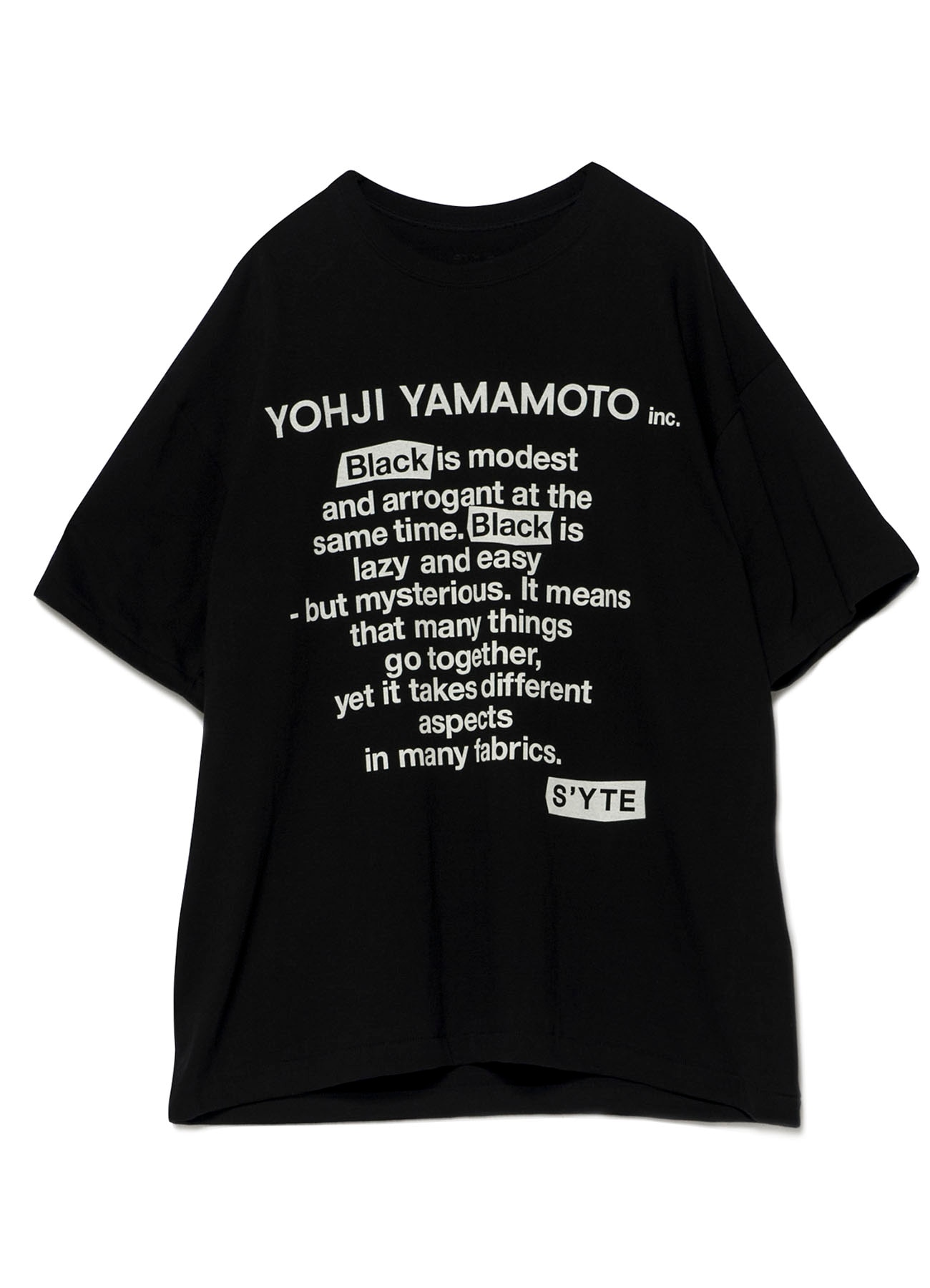 "Arrogant Shop 20/cotton jersey ""black is modest"" messaget-shirt(m black): s'yte"