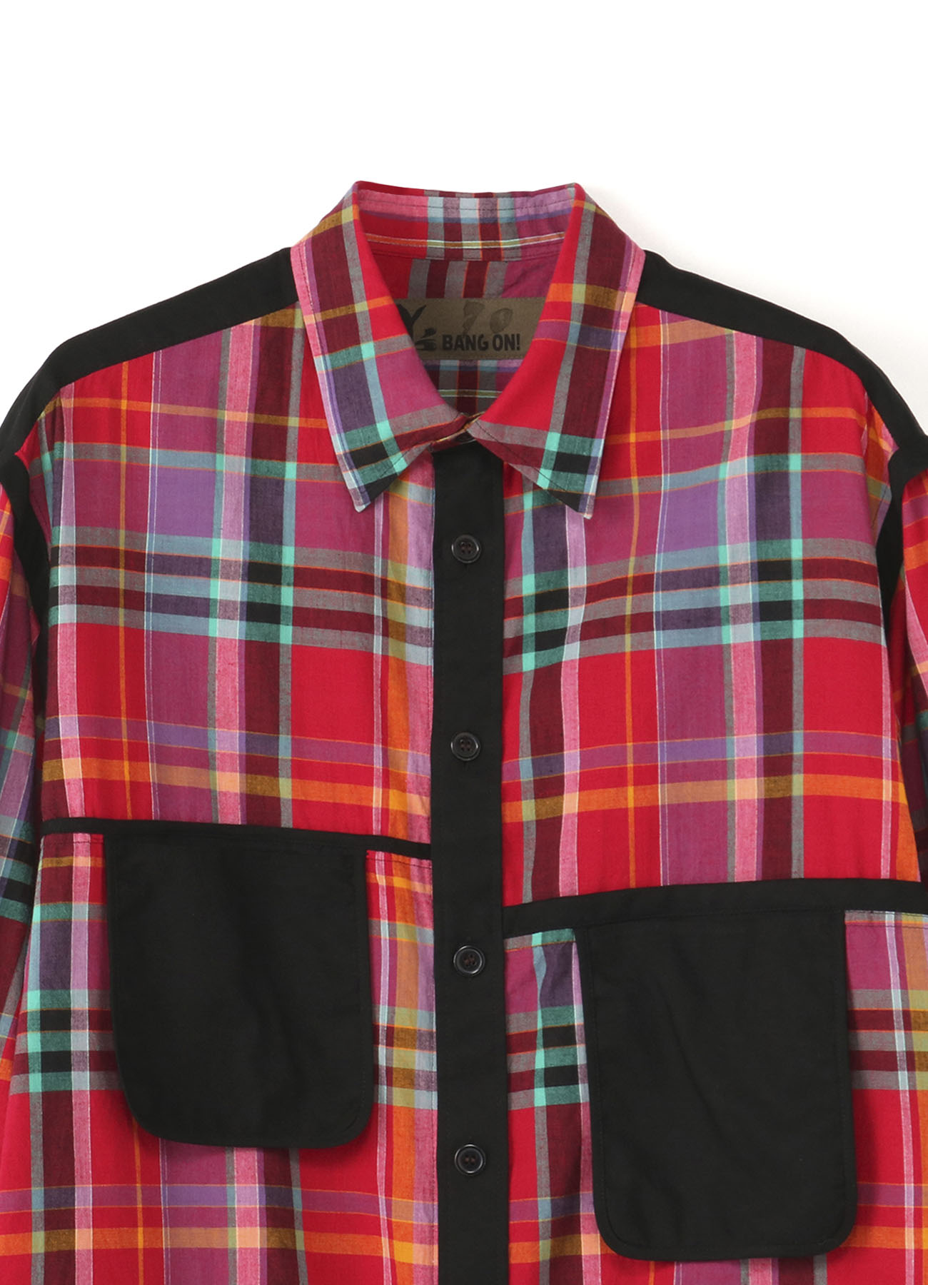 No.70 Madras Check Red Orange Asymmetric Pocket Shirt