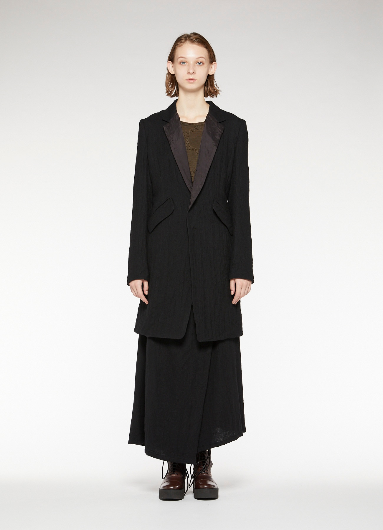 WOOL ROUGH TWILL GARMENT MILLING LONG TAILORED JACKET