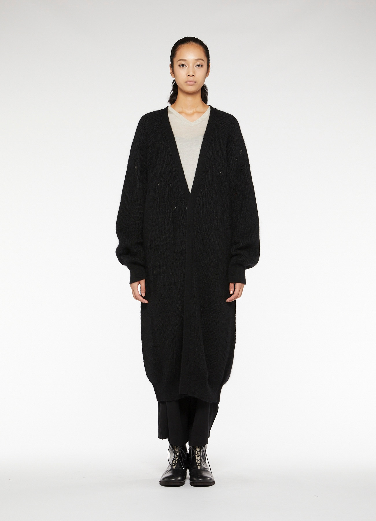 RISMATbyY's WOOL MOHAIR HOLE LONG CARDIGAN