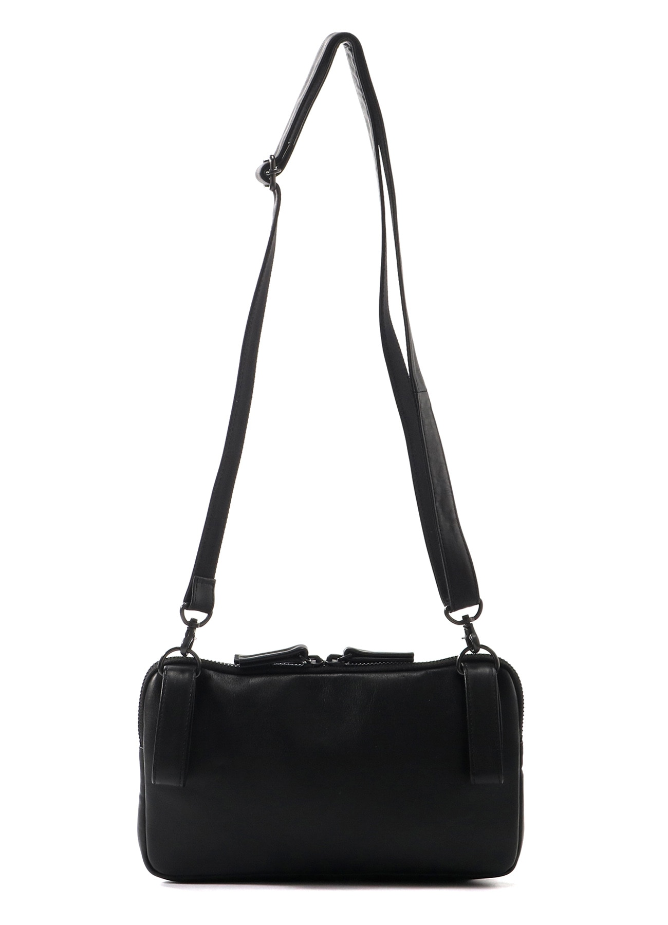 SEMI GLOSS LEATHER B W ZIP 2 WAYS MINI BAG